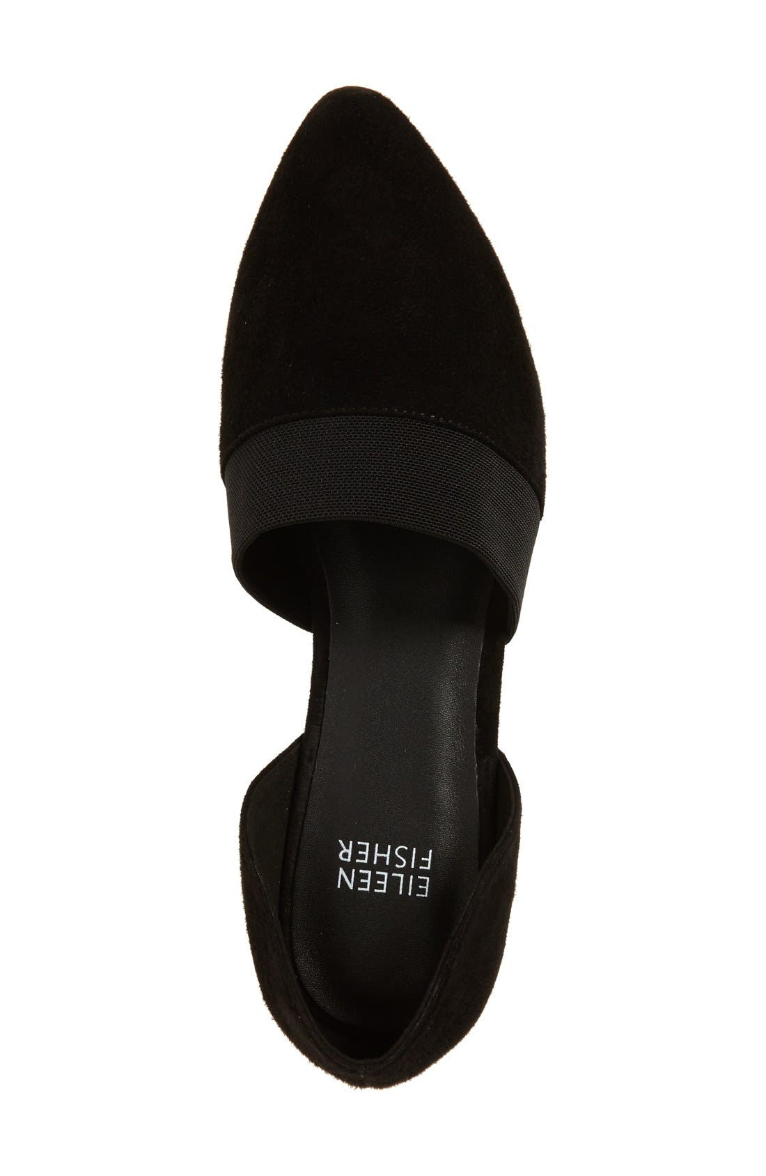 EILEEN FISHER, Flute Pointy Toe Flat, Alternate thumbnail 3, color, BLACK SUEDE