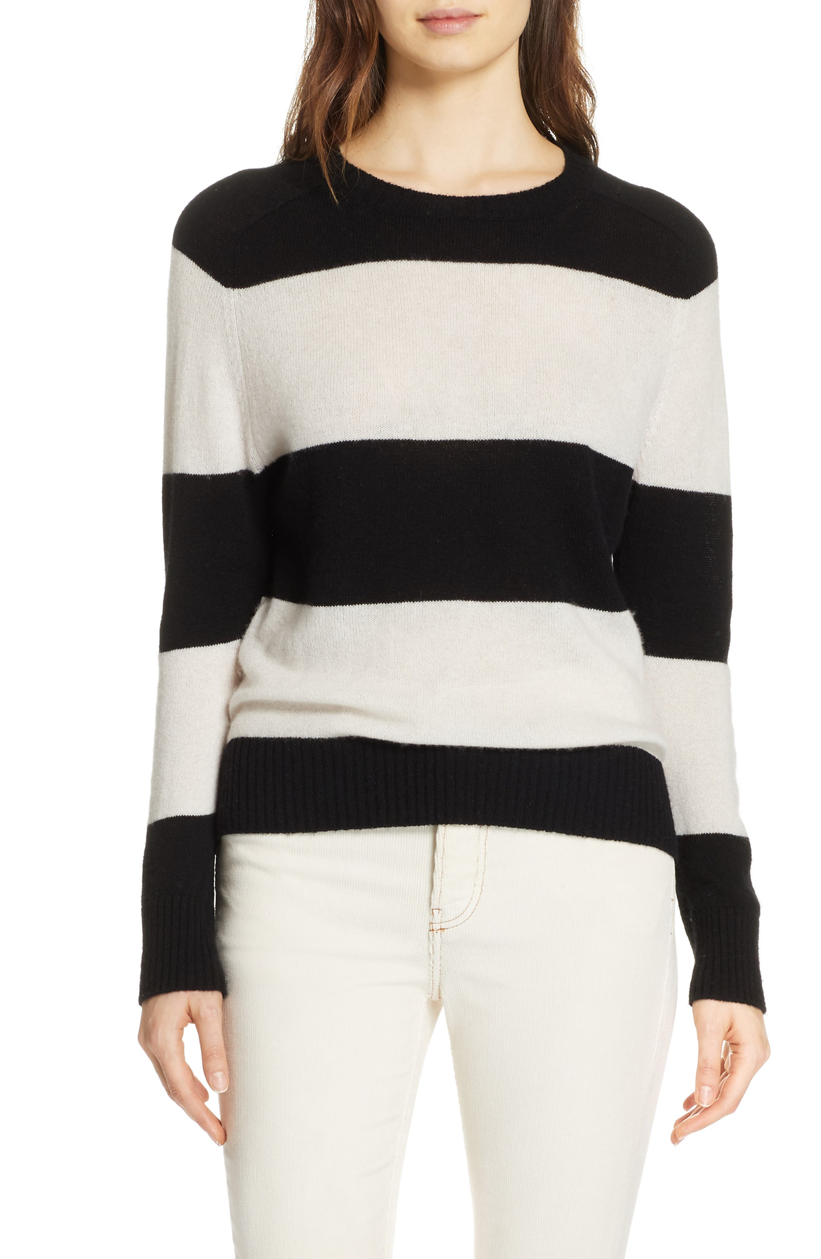 RE/DONE, Stripe Wool & Cashmere Sweater, Main thumbnail 1, color, BLACK/ IVORY