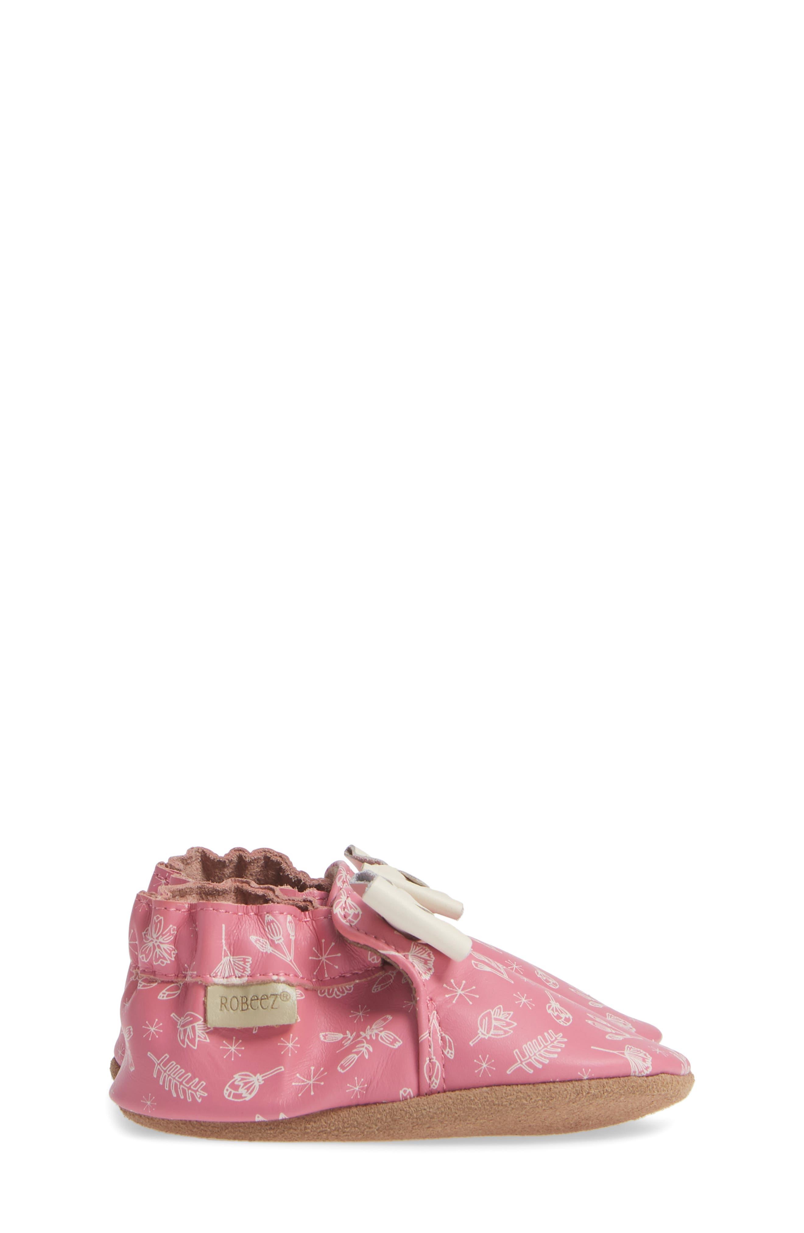 ROBEEZ<SUP>®</SUP>, Francesca Floral Crib Shoe, Alternate thumbnail 4, color, PINK