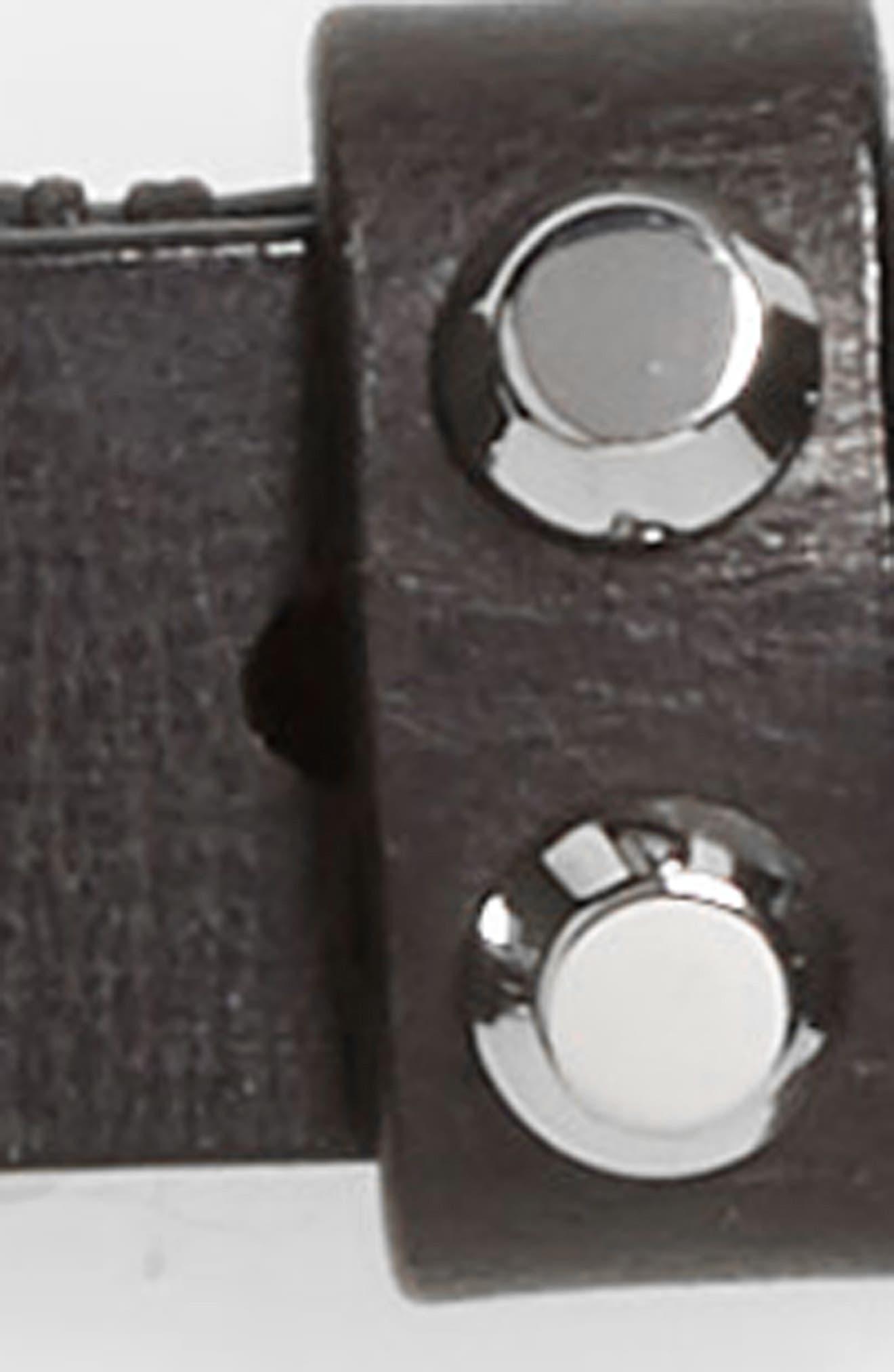 ALLSAINTS, Polished Rivet Belt, Alternate thumbnail 3, color, BLACK/ SHINY NICKEL