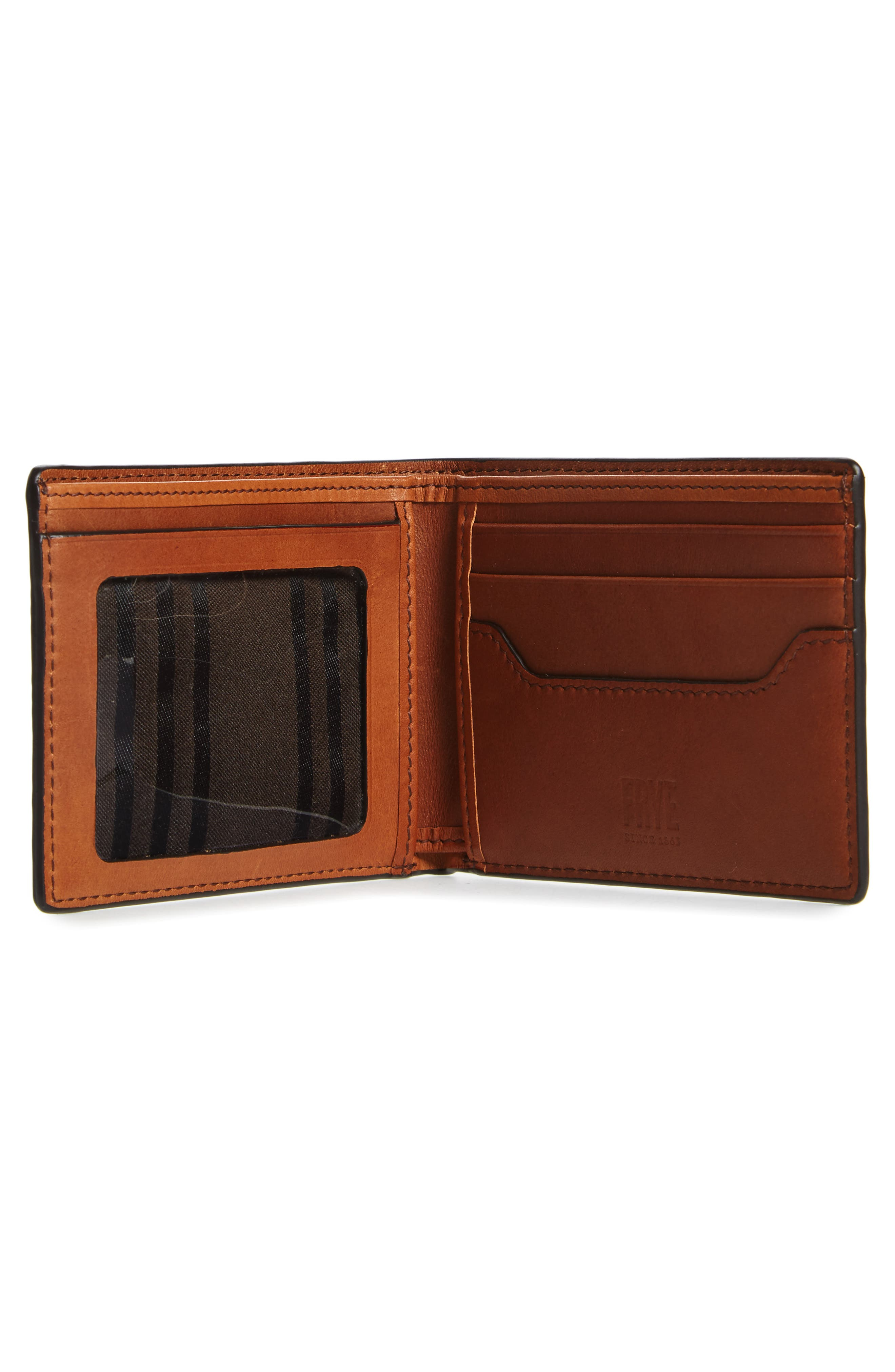 FRYE, Logan Leather Wallet, Alternate thumbnail 2, color, COGNAC