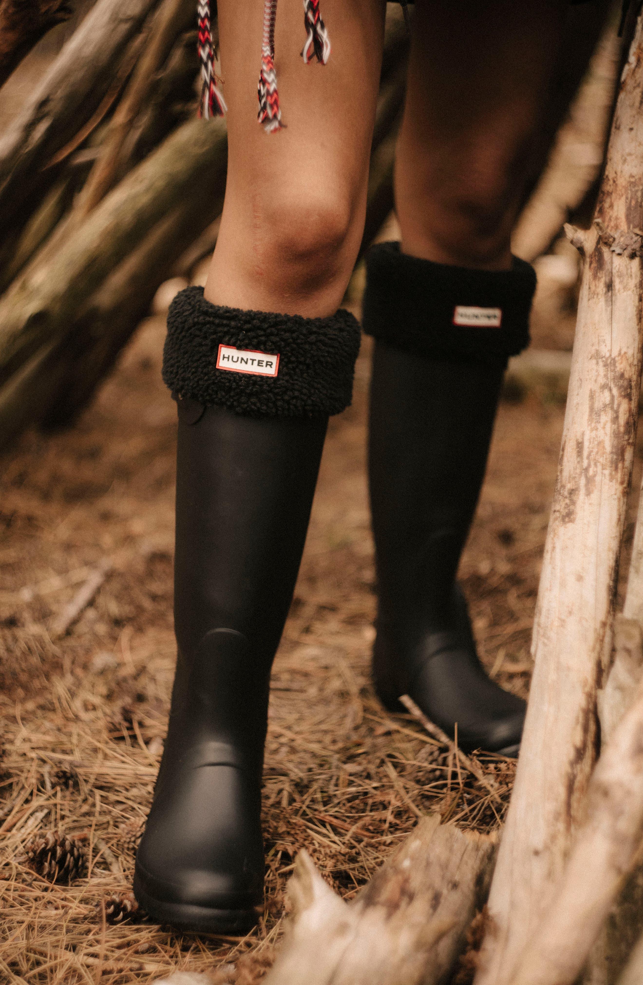 HUNTER, Original Tall Waterproof Rain Boot, Alternate thumbnail 5, color, BLACK MATTE