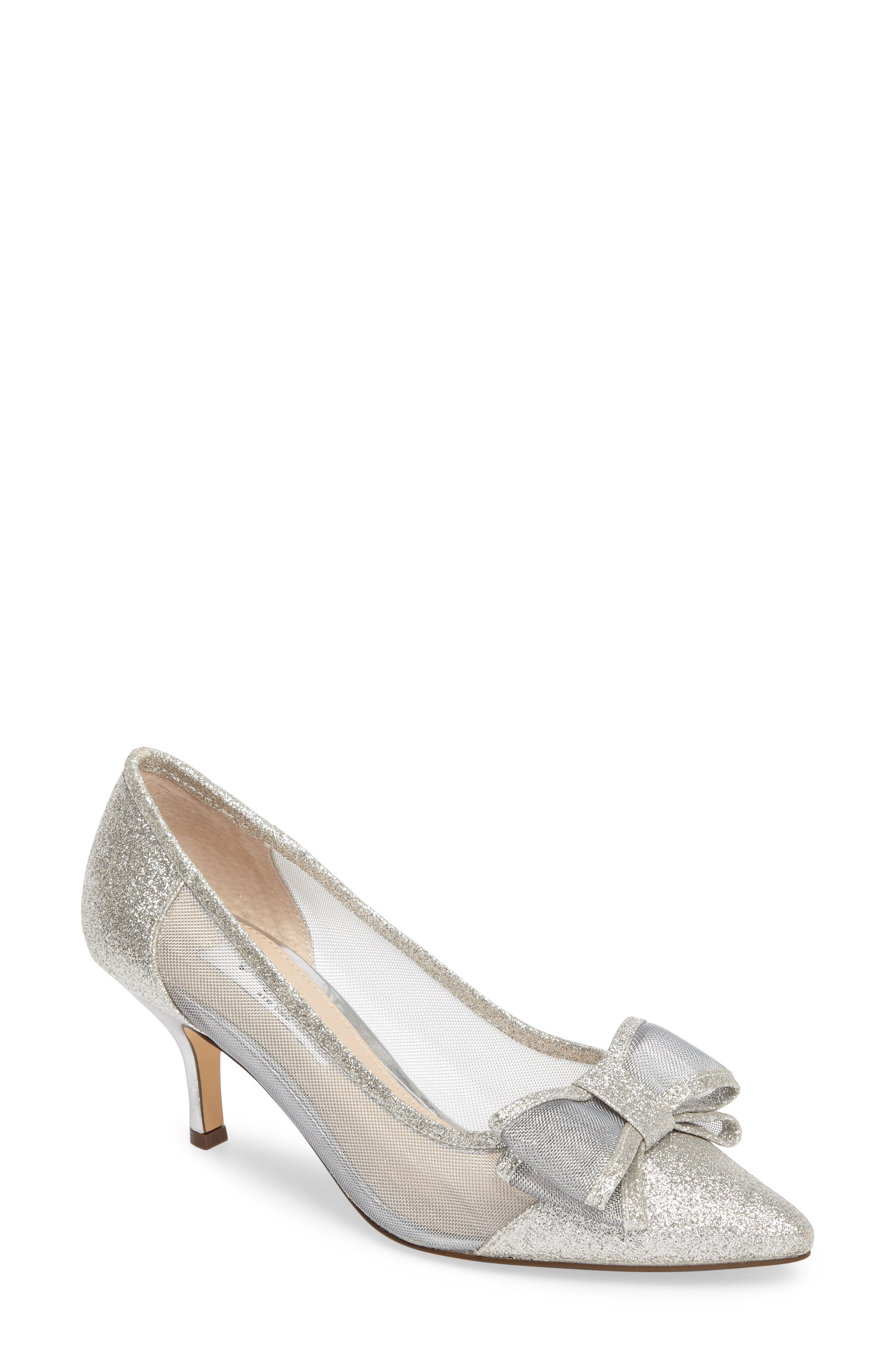 NINA Bianca Pointy Toe Pump, Main, color, SOFT SILVER GLITTER FABRIC