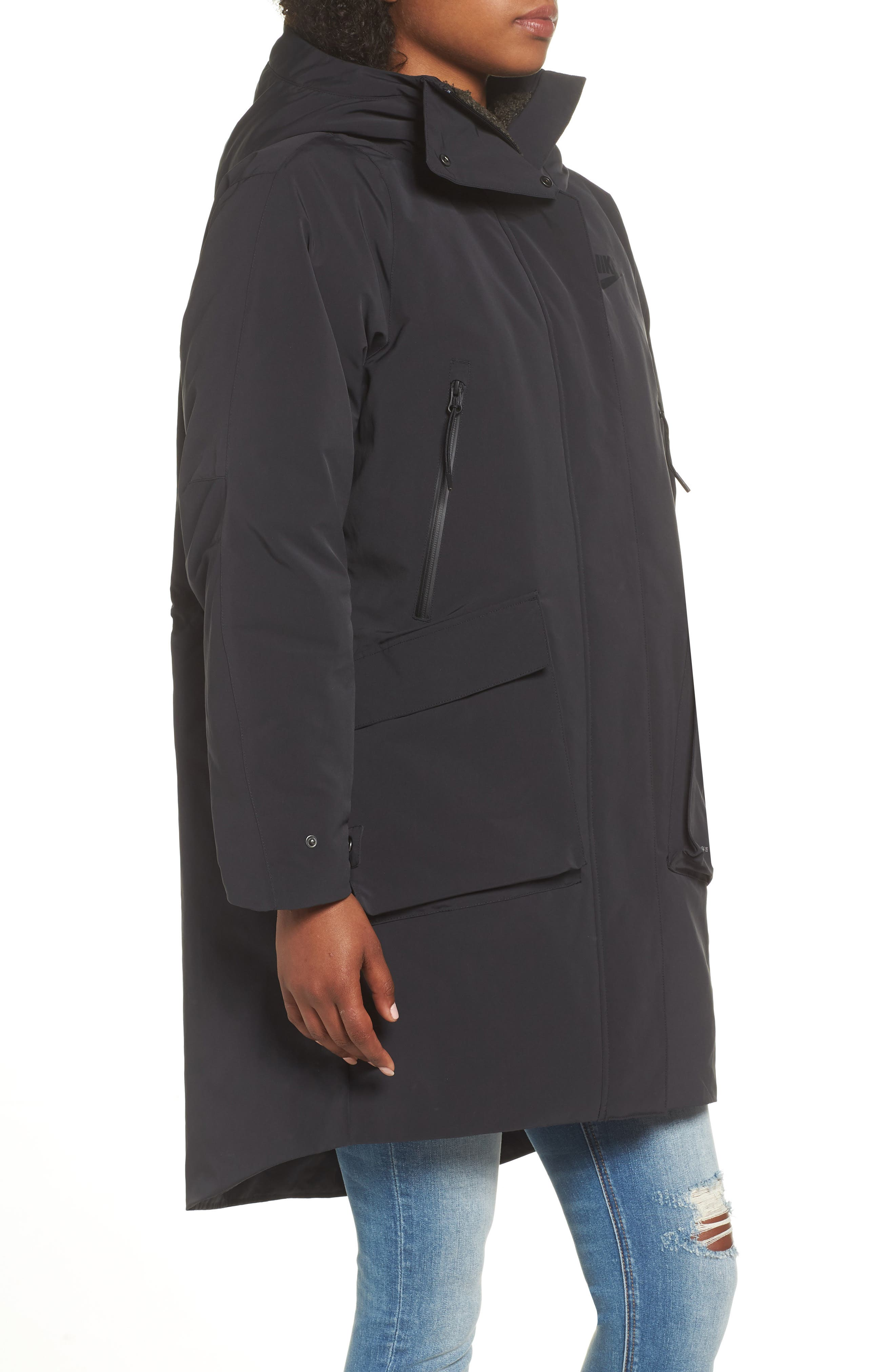 NIKE, Sportswear Tech Pack Women's Down Fill Parka, Alternate thumbnail 4, color, 010