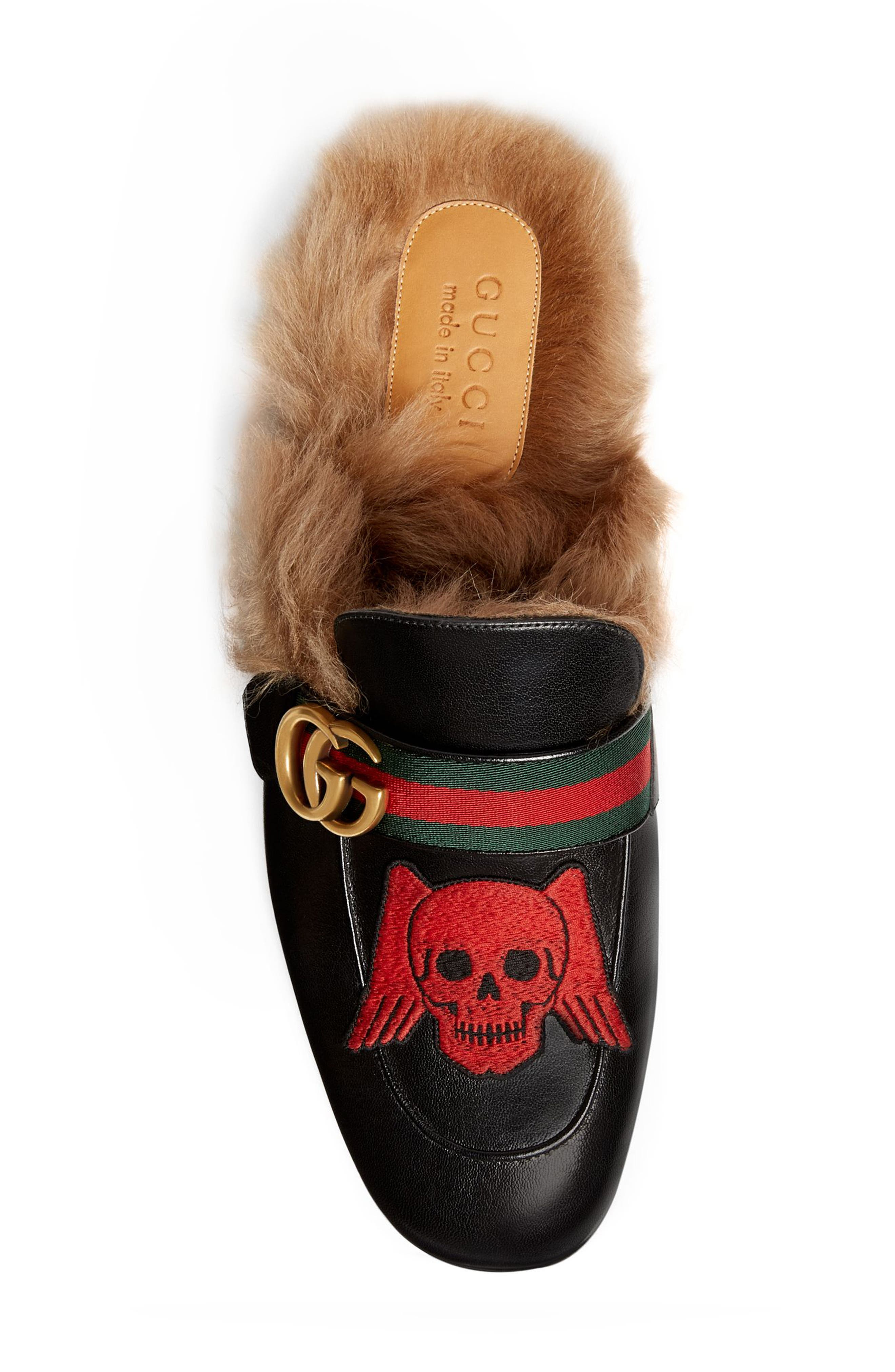 GUCCI, Princetown Double G Loafer Mule with Genuine Shearling, Alternate thumbnail 3, color, BLACK