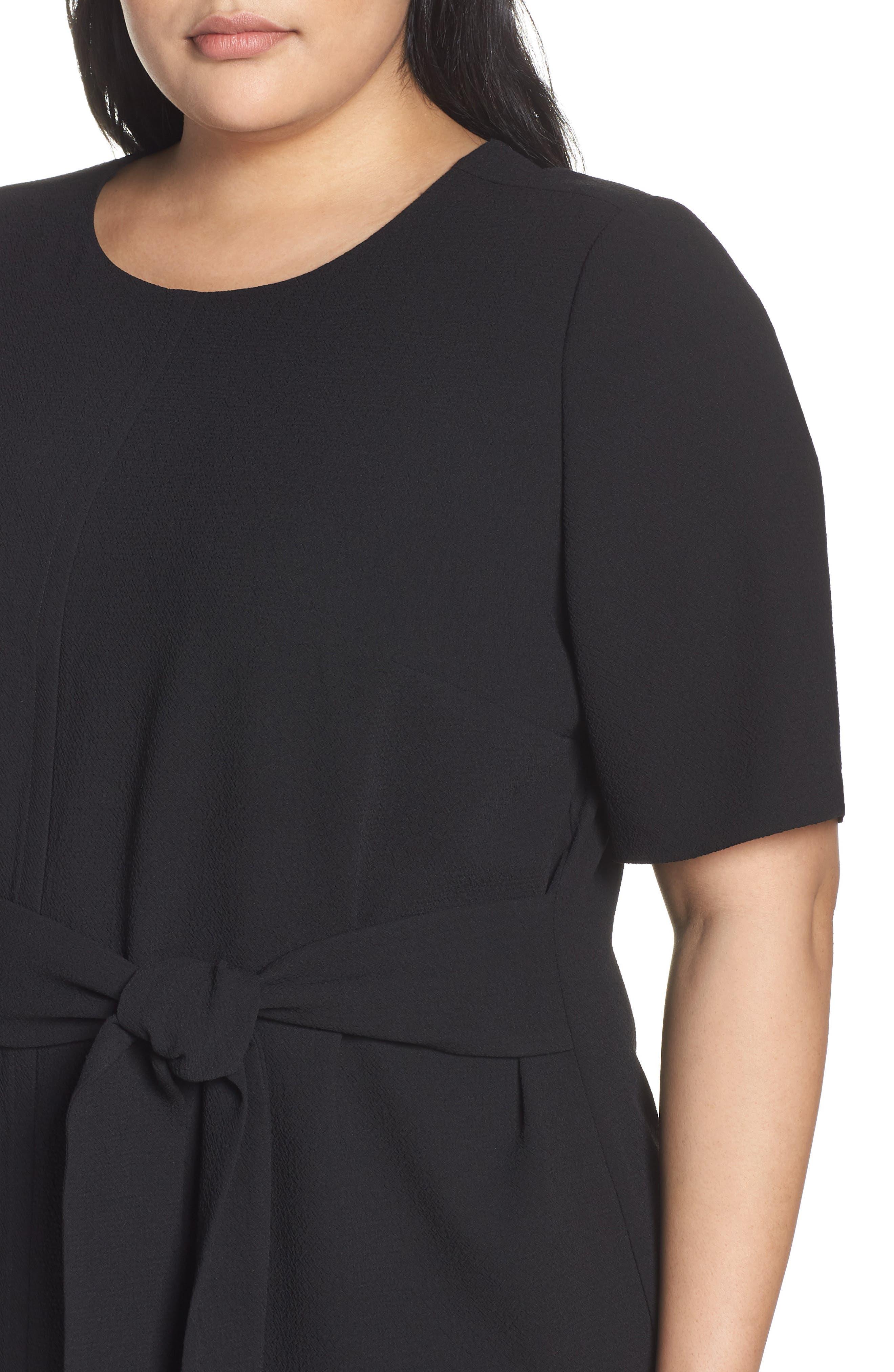 VINCE CAMUTO, Belt Parisian Crepe Dress, Alternate thumbnail 5, color, RICH BLACK