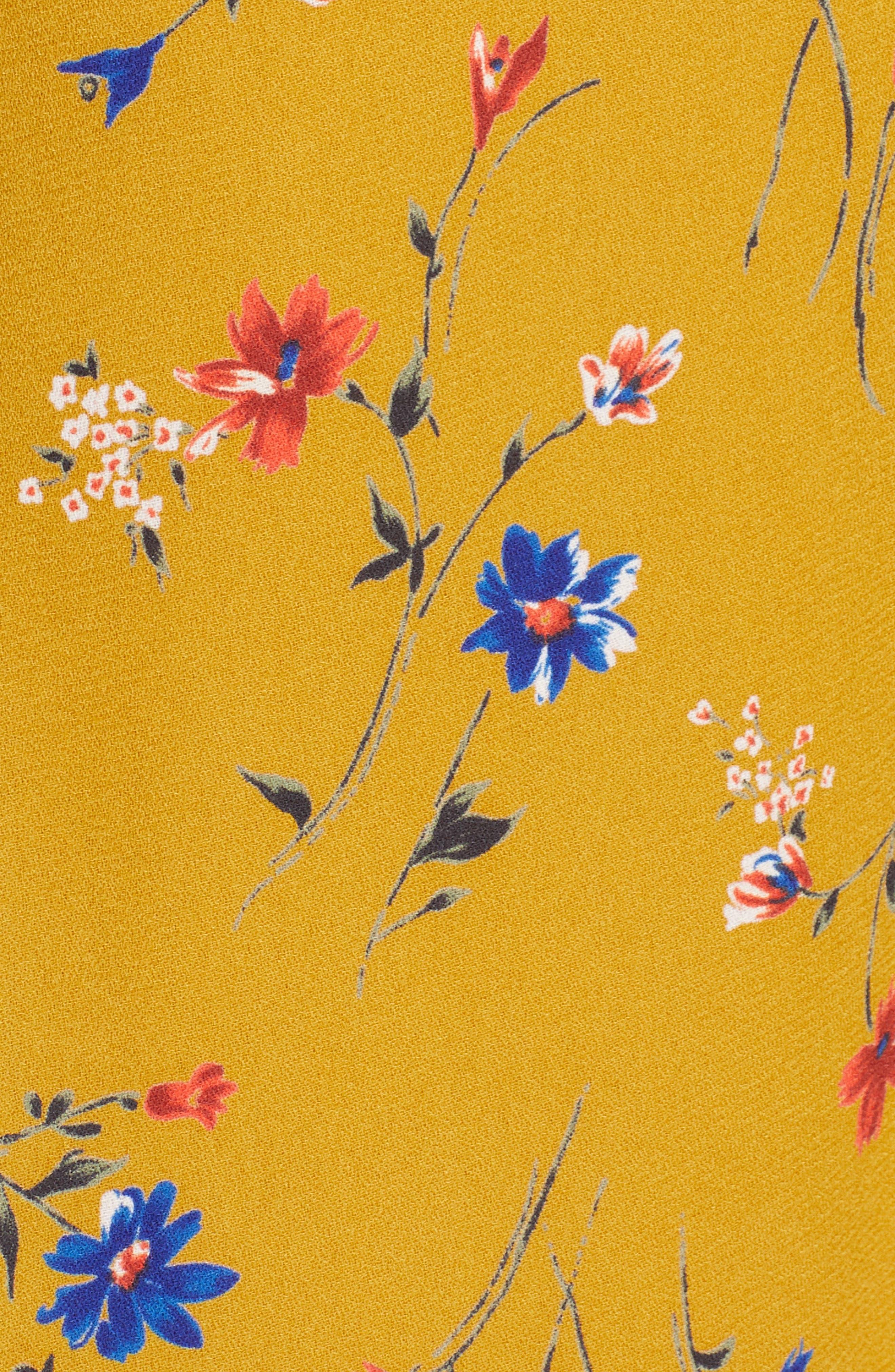19 COOPER, Floral Print Tie Front Dress, Alternate thumbnail 6, color, MUSTARD FLORAL