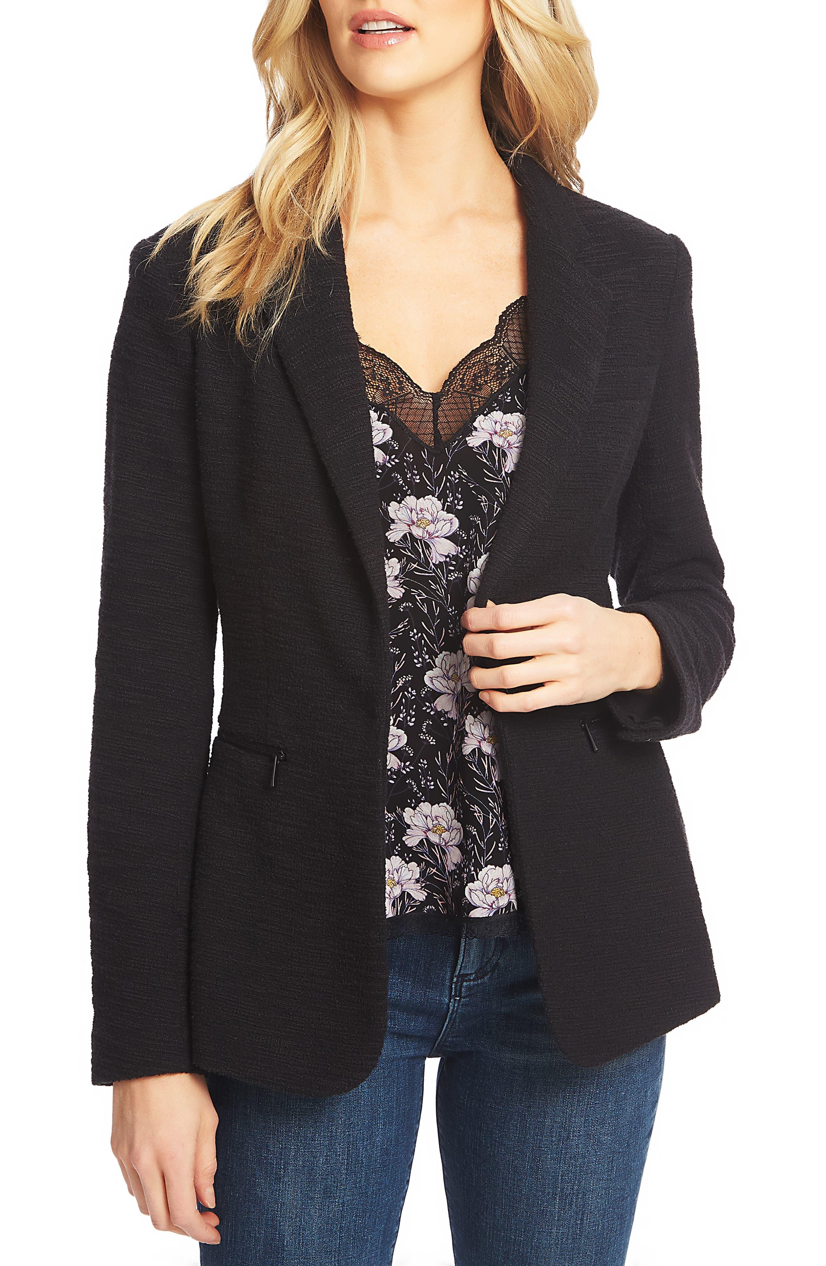 1.STATE Slub Tweed One-Button Blazer, Main, color, RICH BLACK