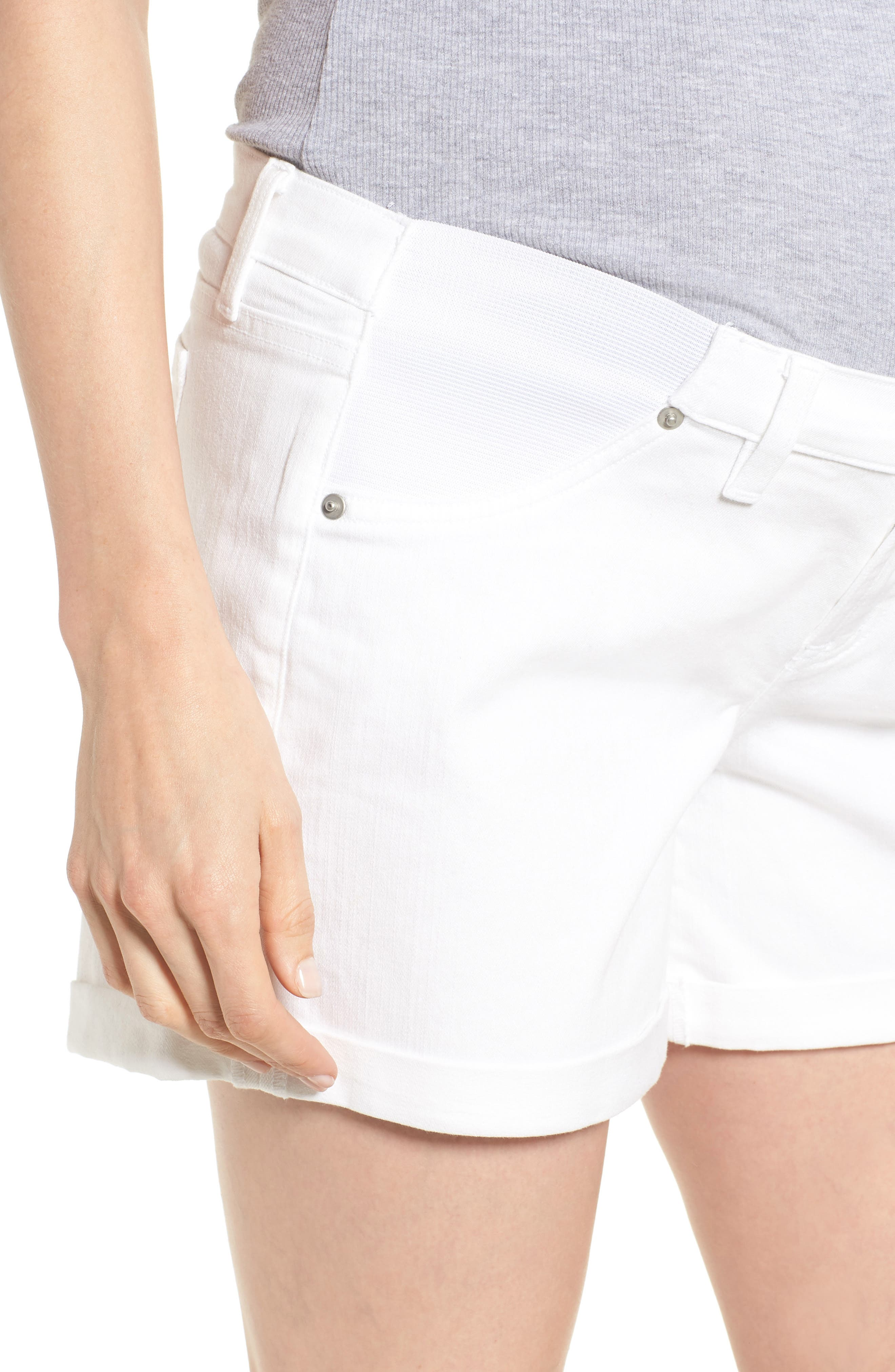 INGRID & ISABEL<SUP>®</SUP>, Mia Maternity Boyfriend Shorts, Alternate thumbnail 4, color, WHITE