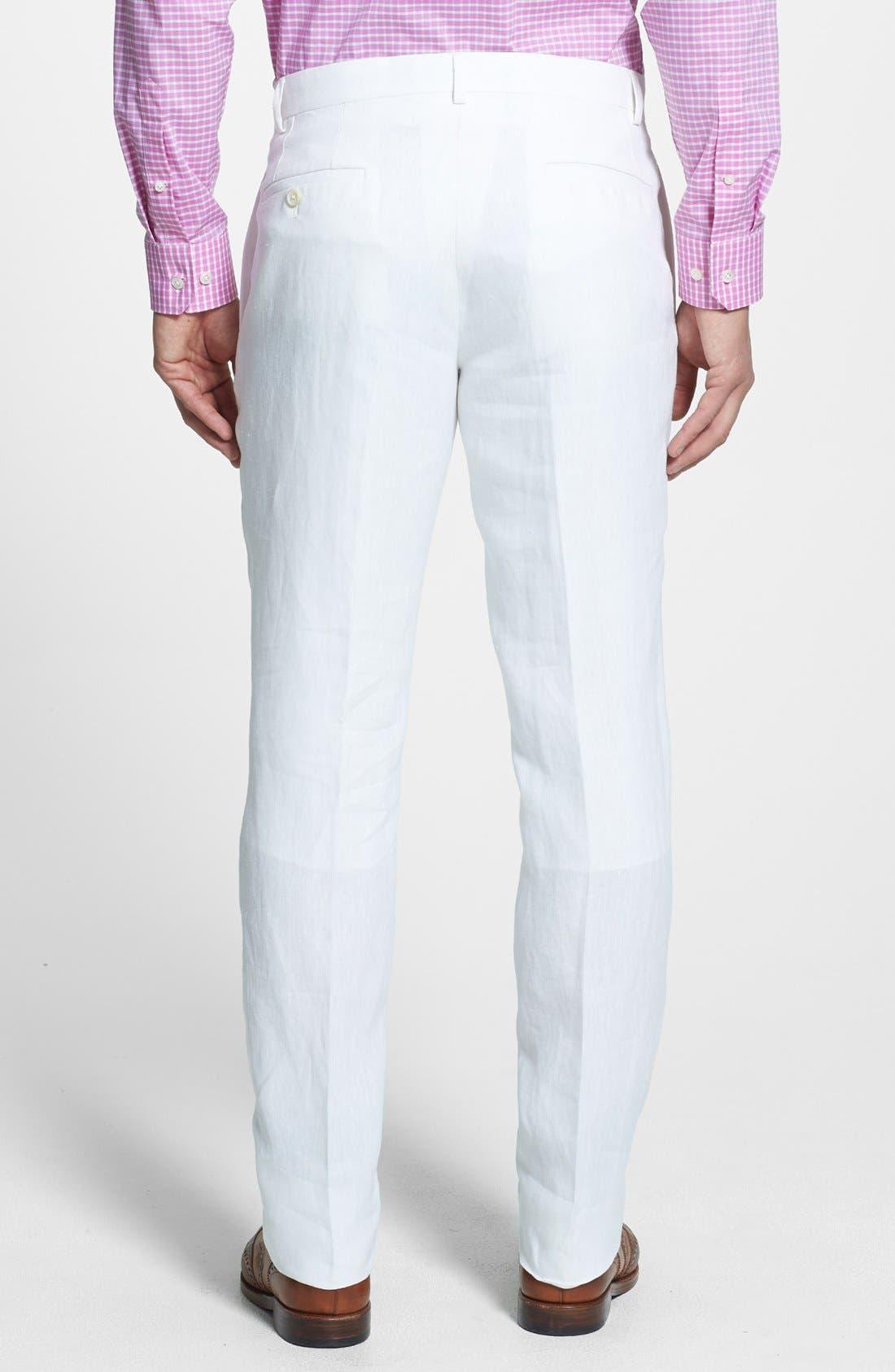 NORDSTROM MEN'S SHOP, Flat Front Slim Leg Linen Trousers, Alternate thumbnail 2, color, 100