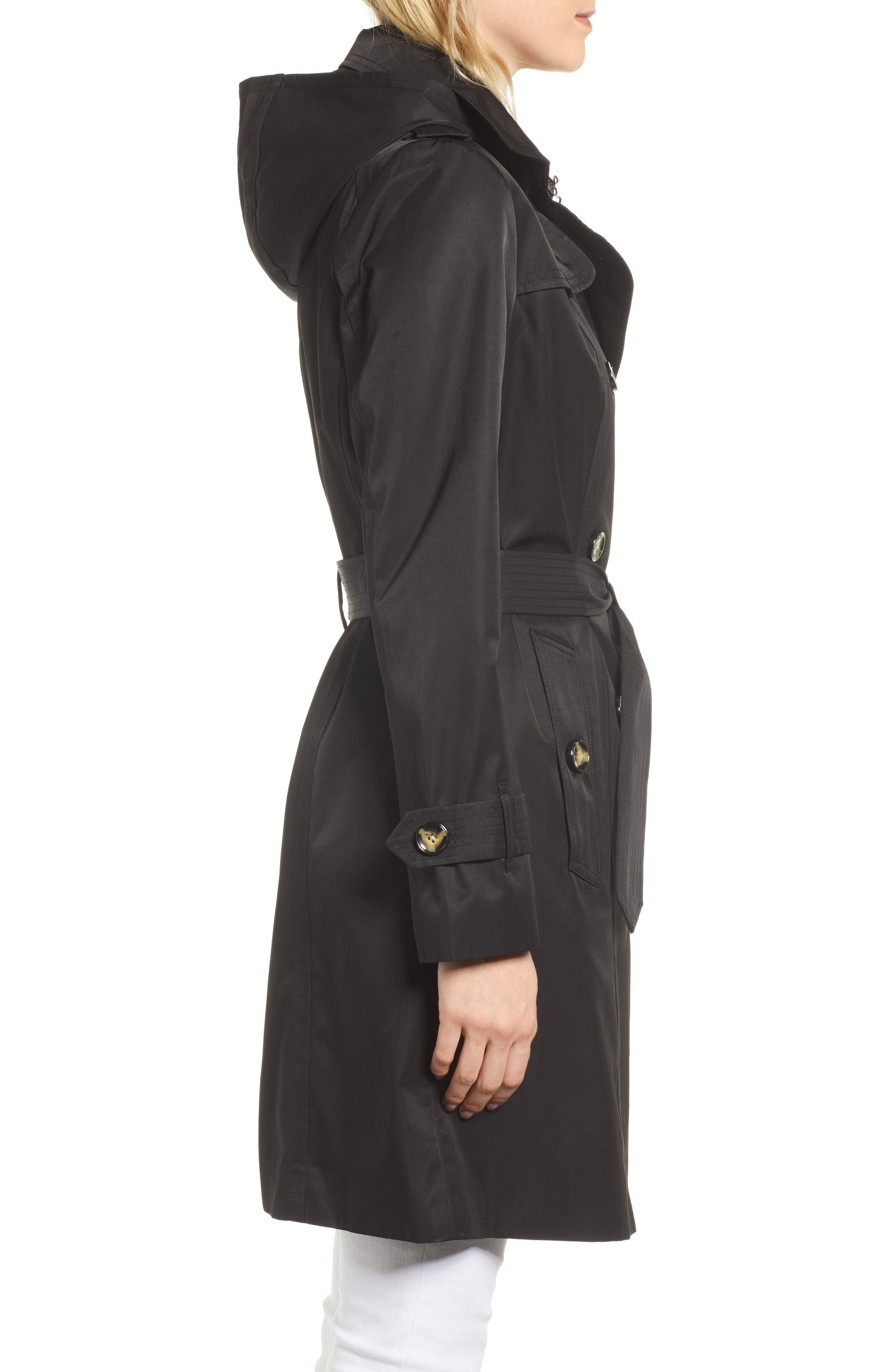 LONDON FOG, Double Breasted Trench Coat, Alternate thumbnail 4, color, BLACK