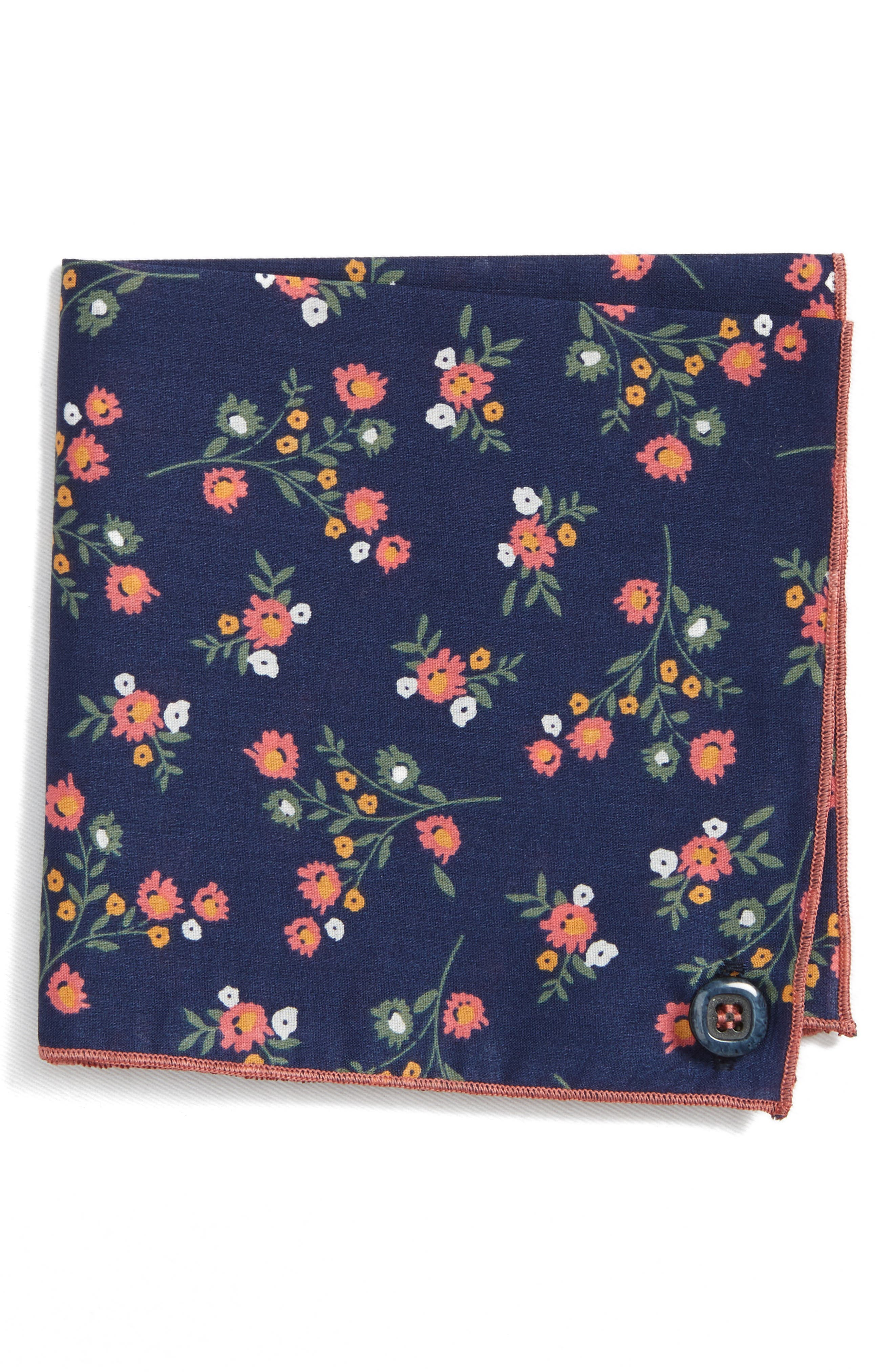 ARMSTRONG & WILSON, Baby Rose Cotton Pocket Square, Main thumbnail 1, color, 410
