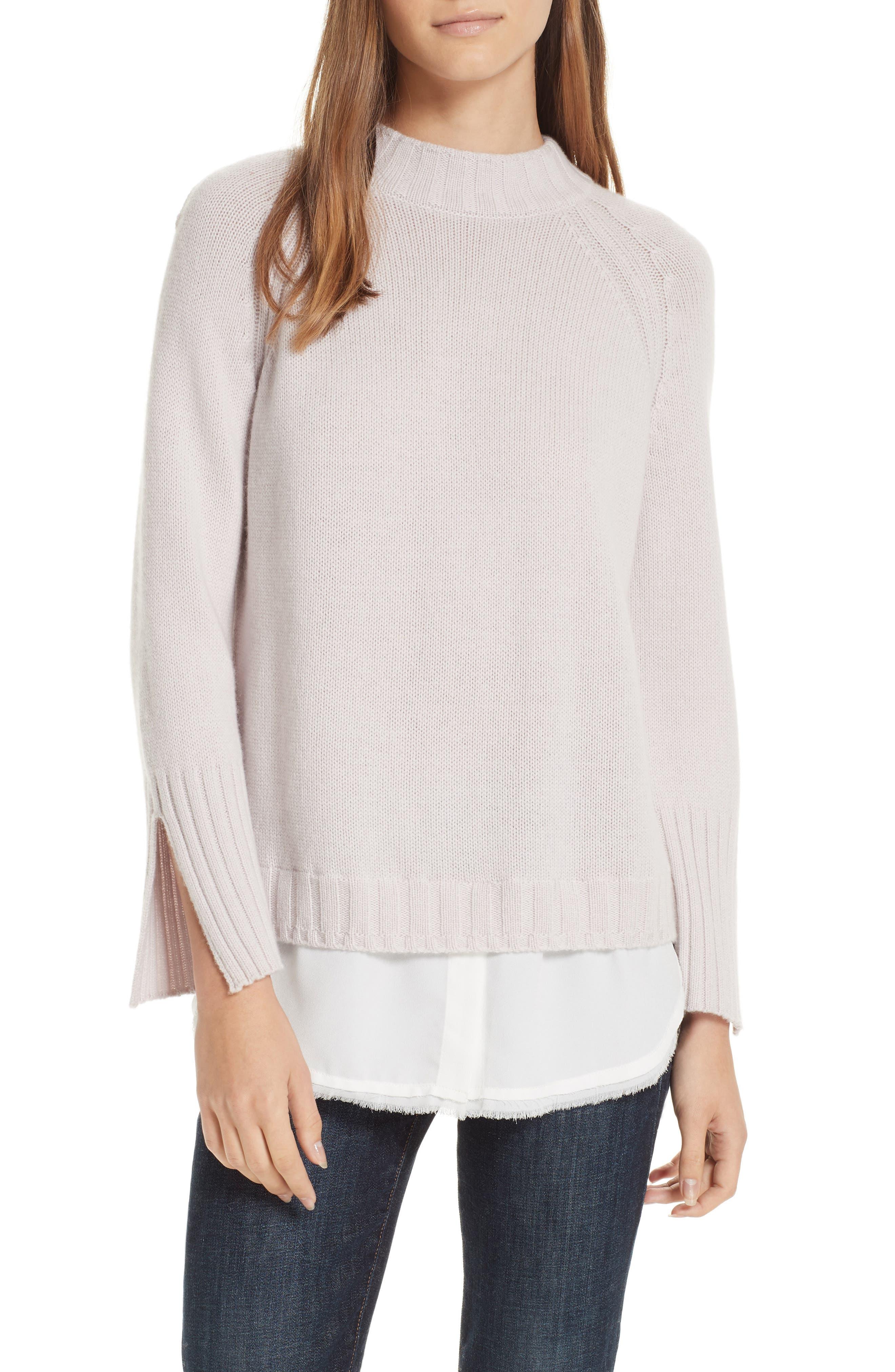Brochu Walker Strand Layered Wool Cashmere Sweater, Pink