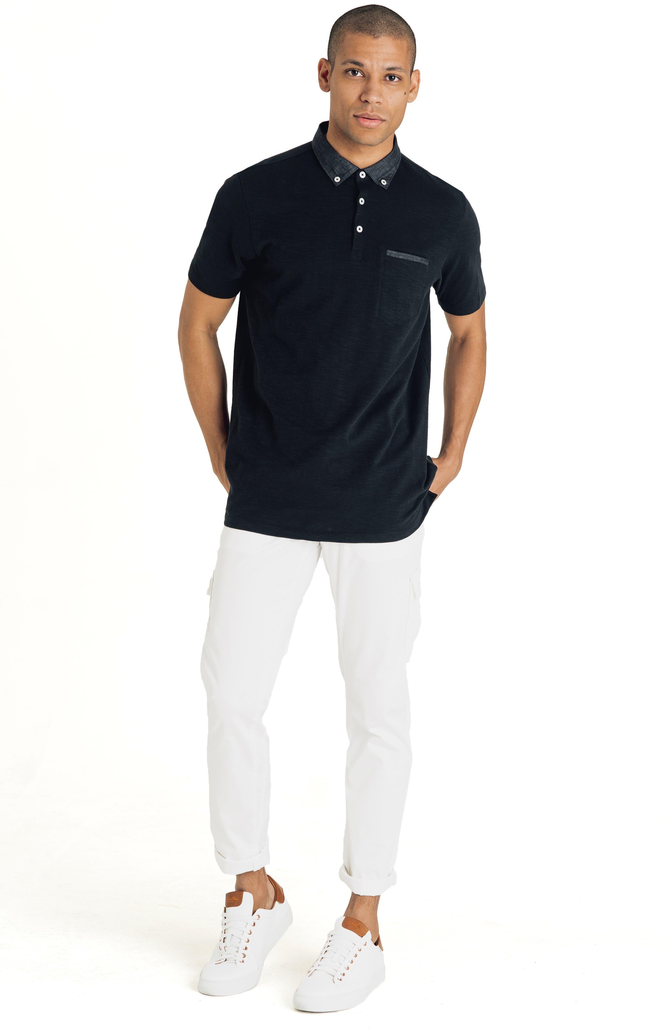 GOOD MAN BRAND, Slub Jersey Cotton Polo Shirt, Alternate thumbnail 7, color, BLACK
