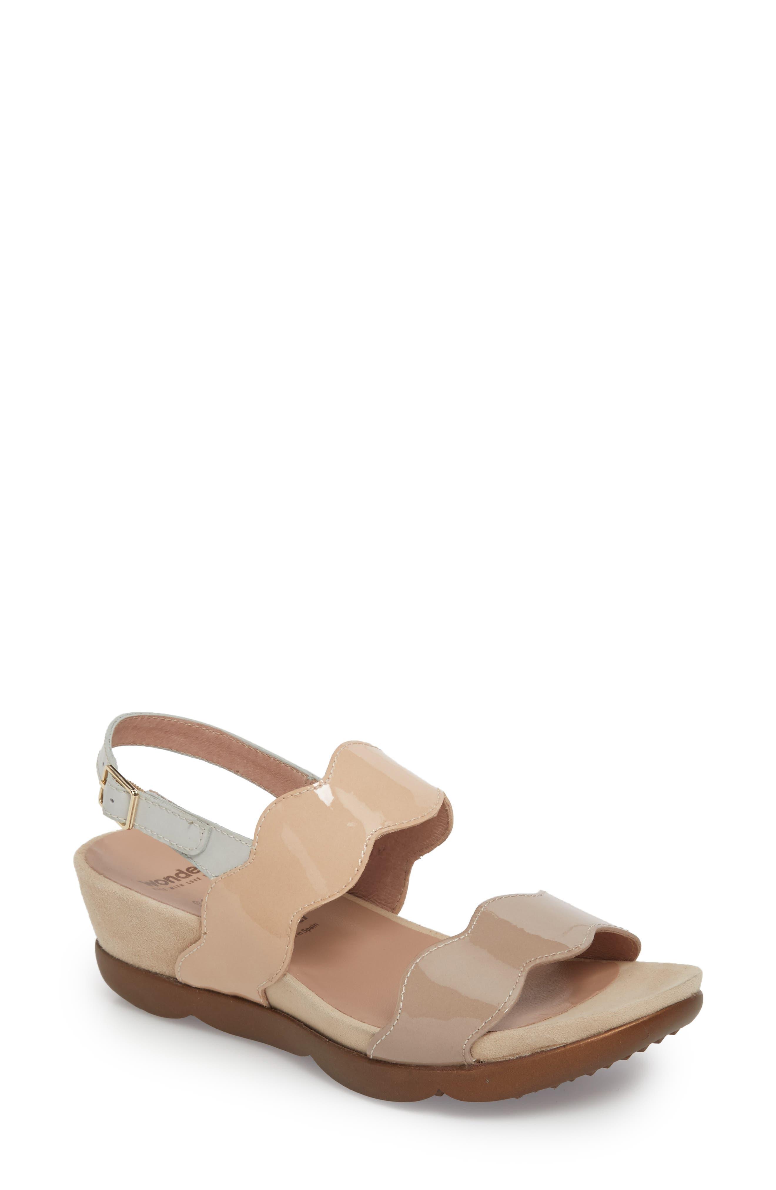 Wonders Wedge Sandal, Beige