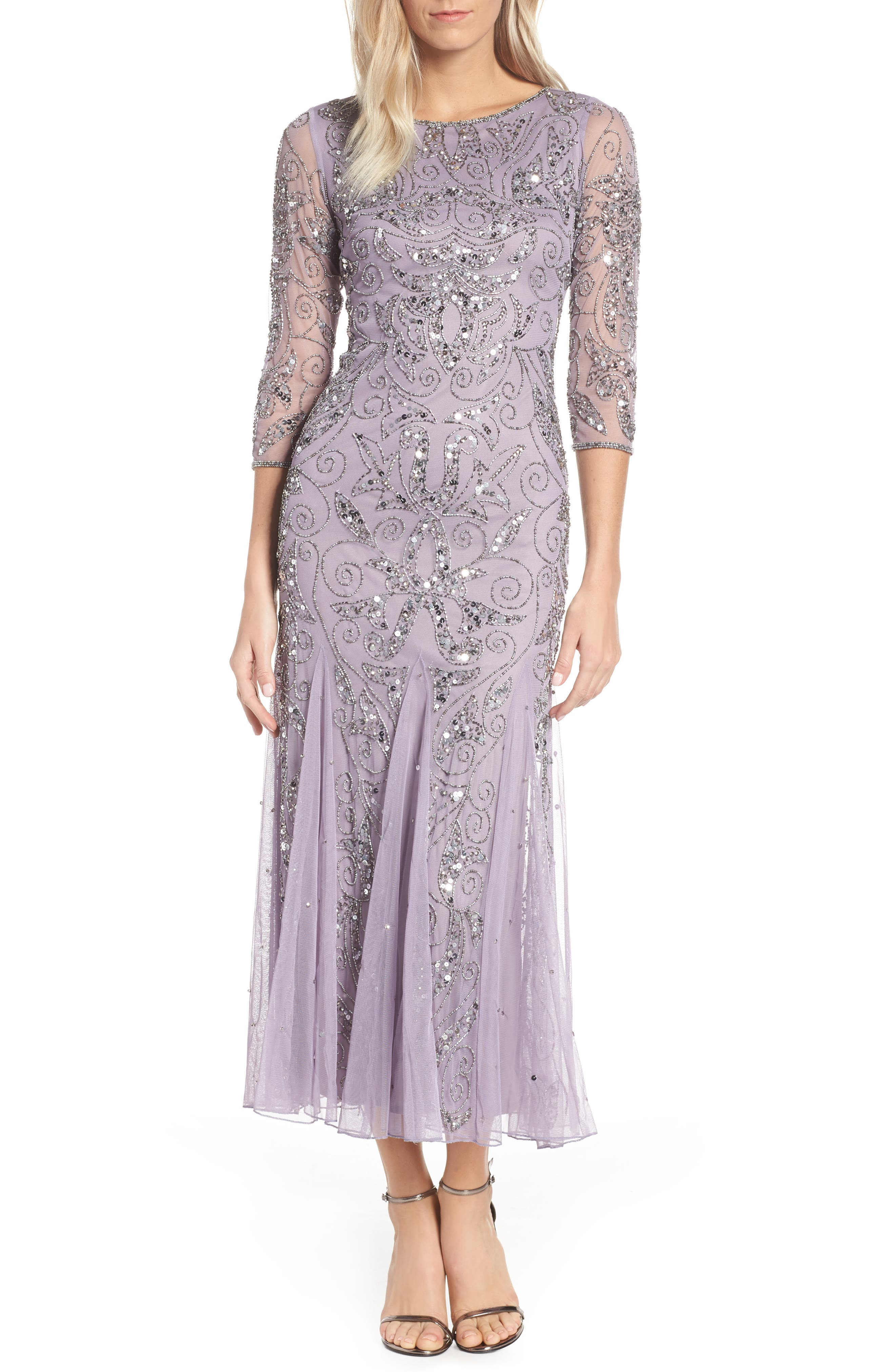 1920s Style Dresses, 20s Dresses Womens Pisarro Nights Embellished Mesh Gown Size 2 - Purple $218.00 AT vintagedancer.com