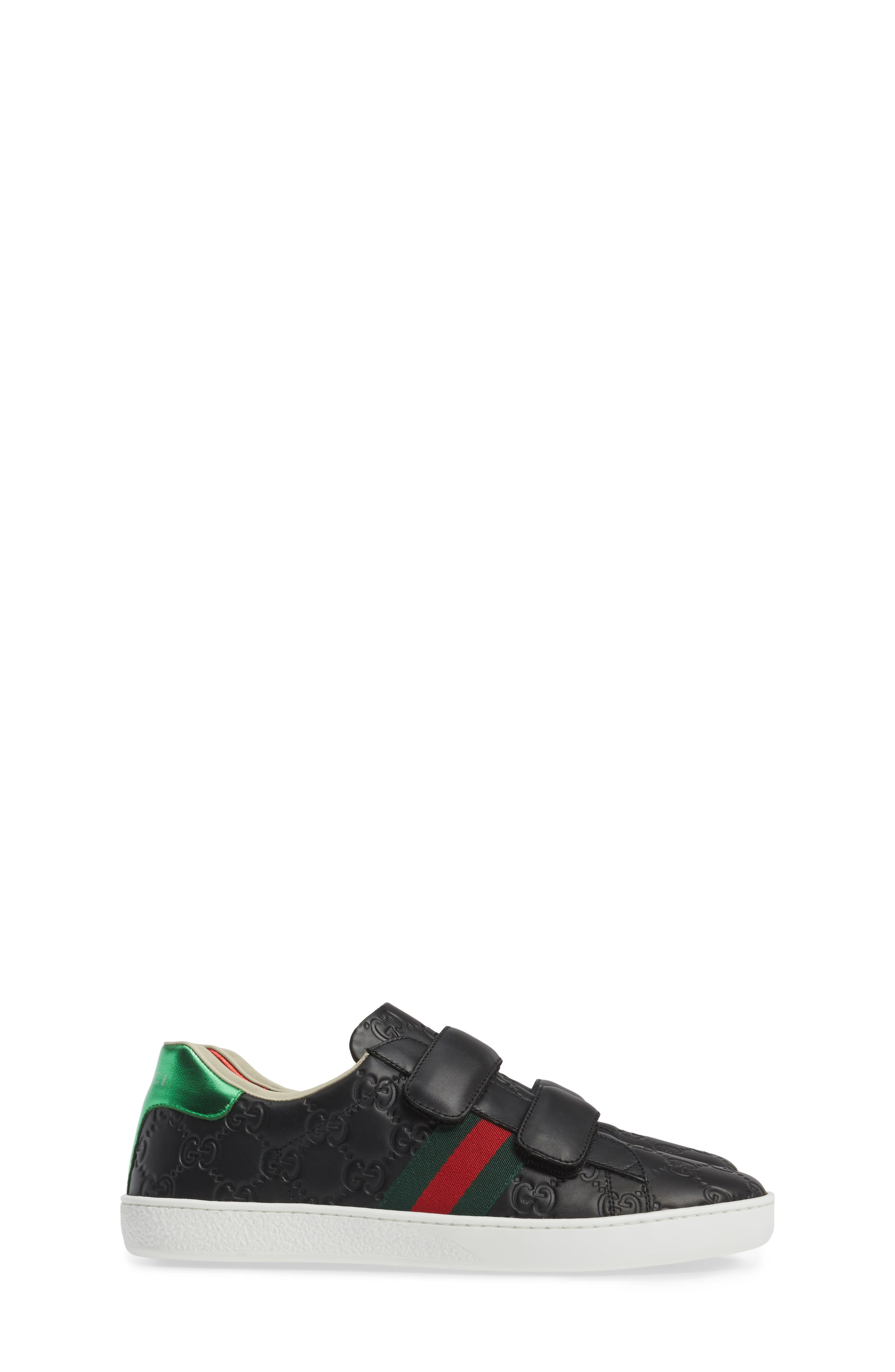 GUCCI, New Ace Sneaker, Alternate thumbnail 4, color, 001