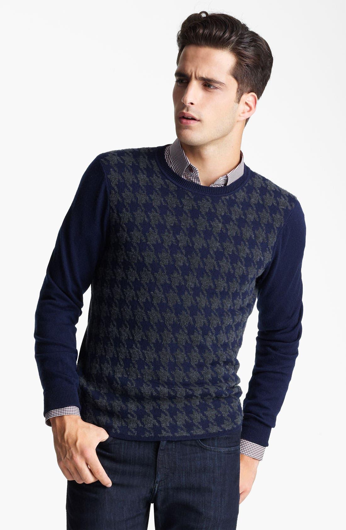 Z ZEGNA, Houndstooth Crewneck Sweater, Main thumbnail 1, color, 418