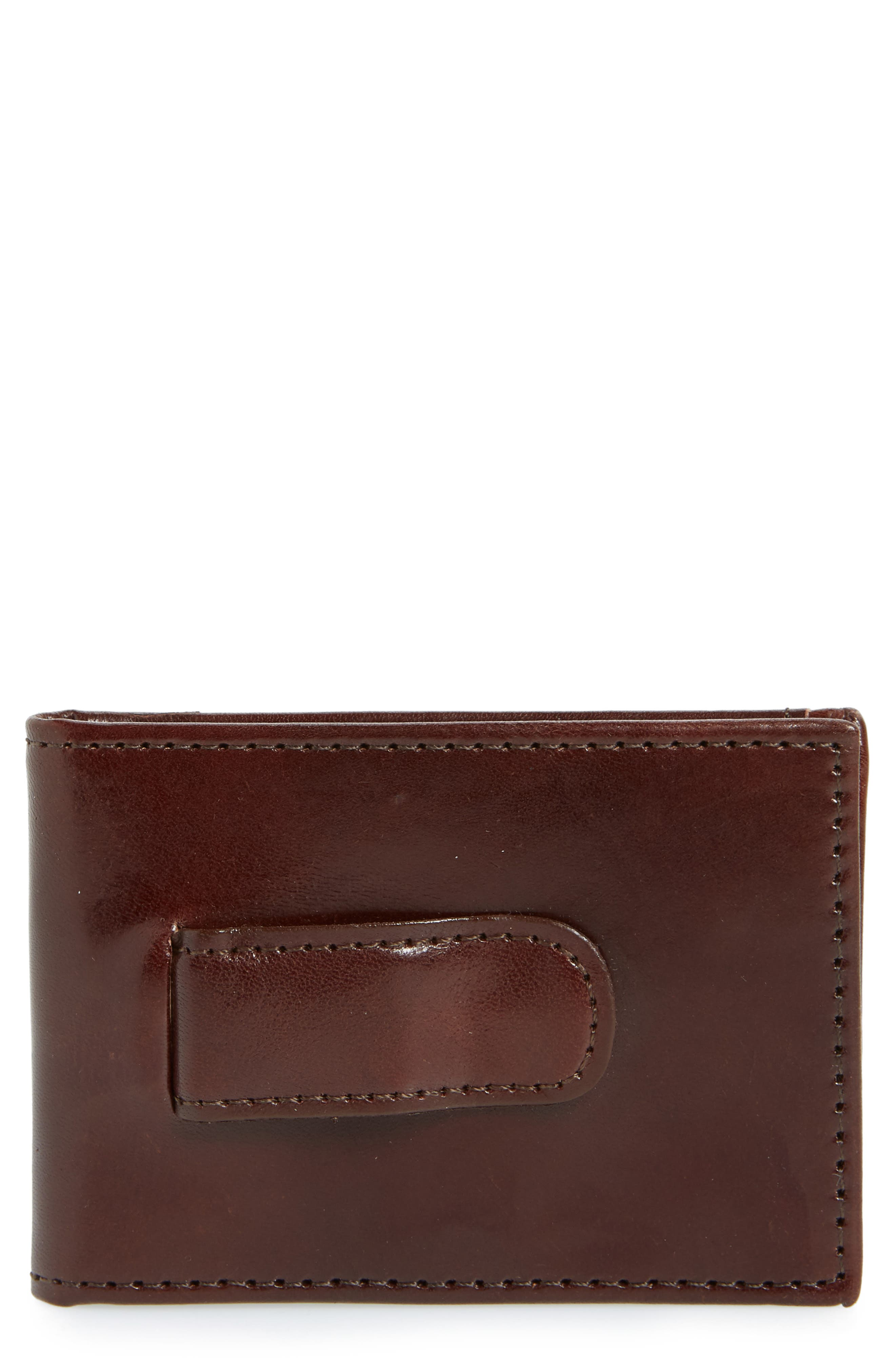 JOHNSTON & MURPHY Leather Money Clip Wallet, Main, color, BROWN