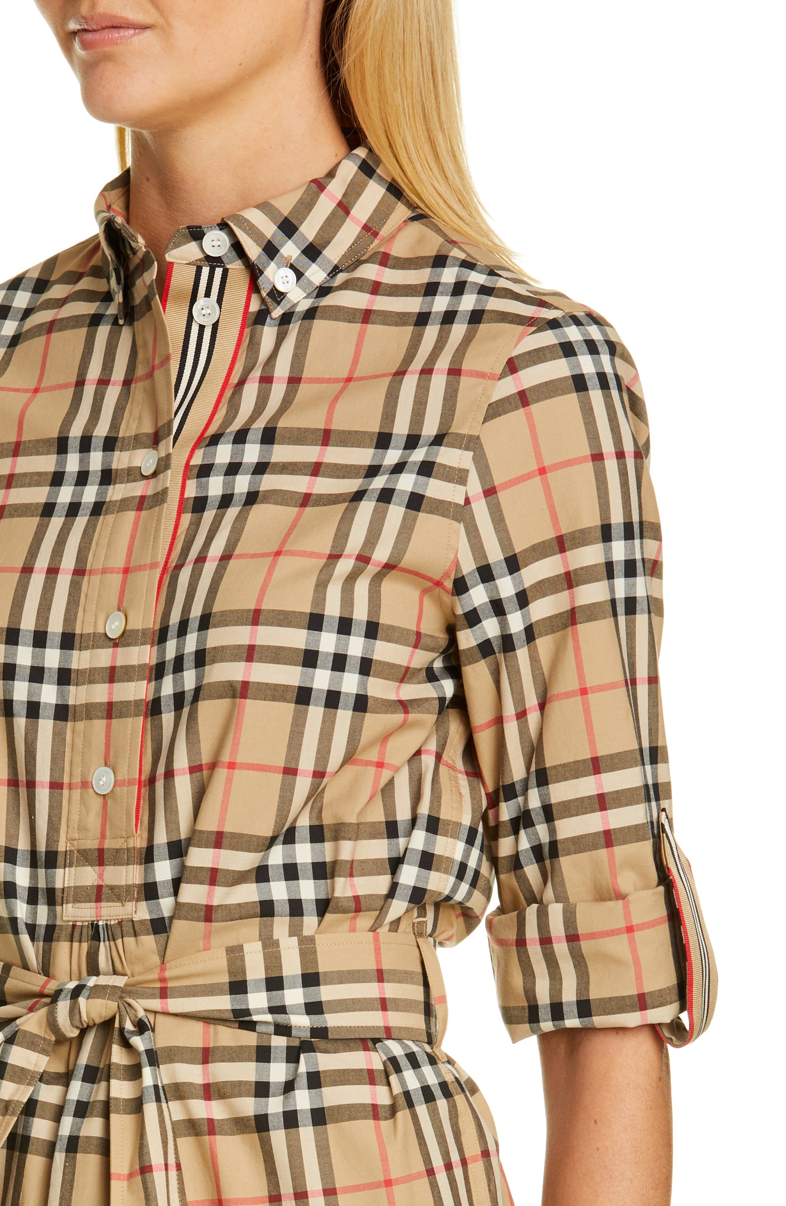BURBERRY, Giovanna Archive Check Shirtdress, Alternate thumbnail 4, color, ARCHIVE BEIGE IP CHK