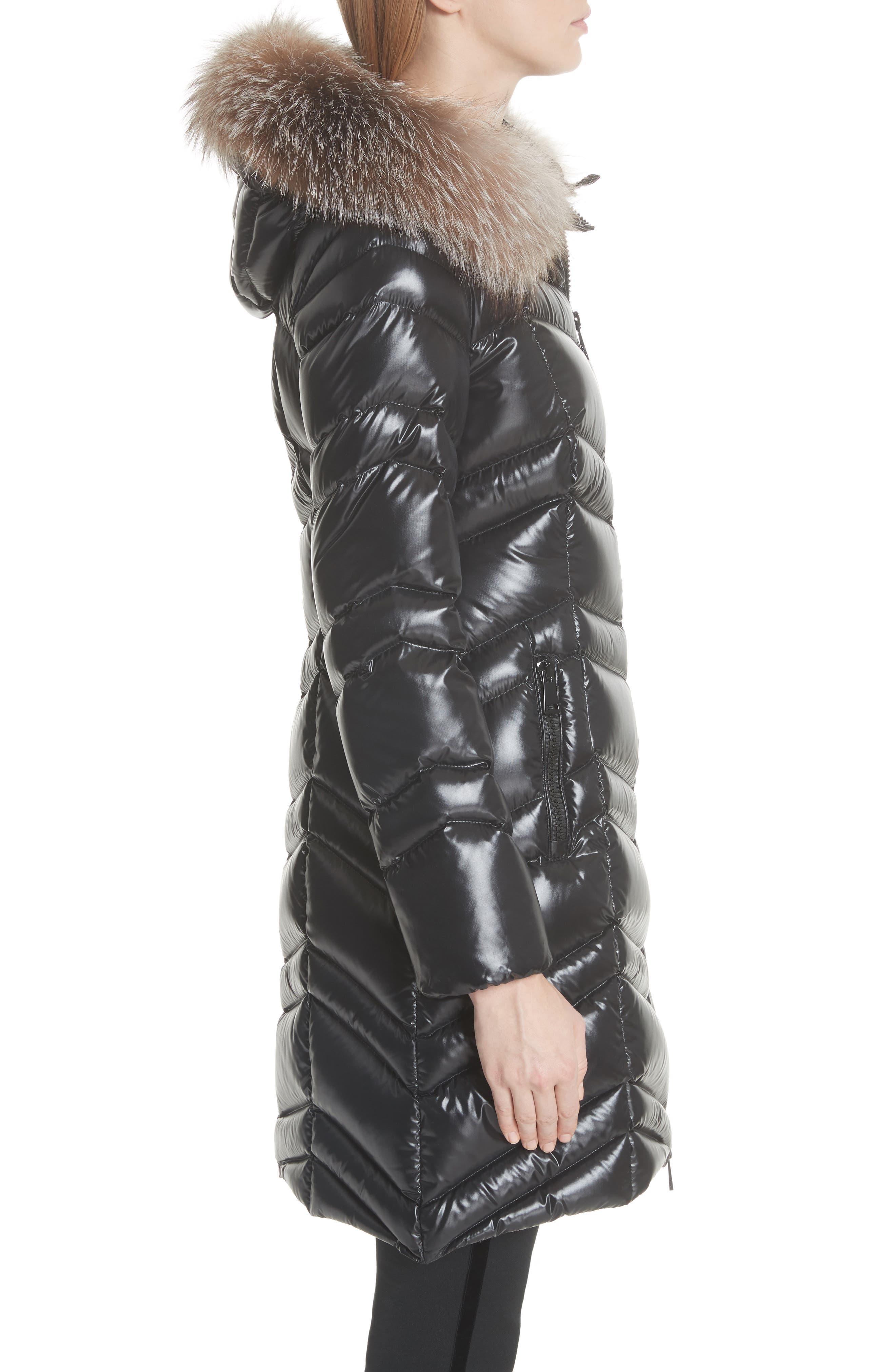 MONCLER, Fulmar Hooded Down Puffer Coat with Removable Genuine Fox Fur Trim, Alternate thumbnail 4, color, BLACK