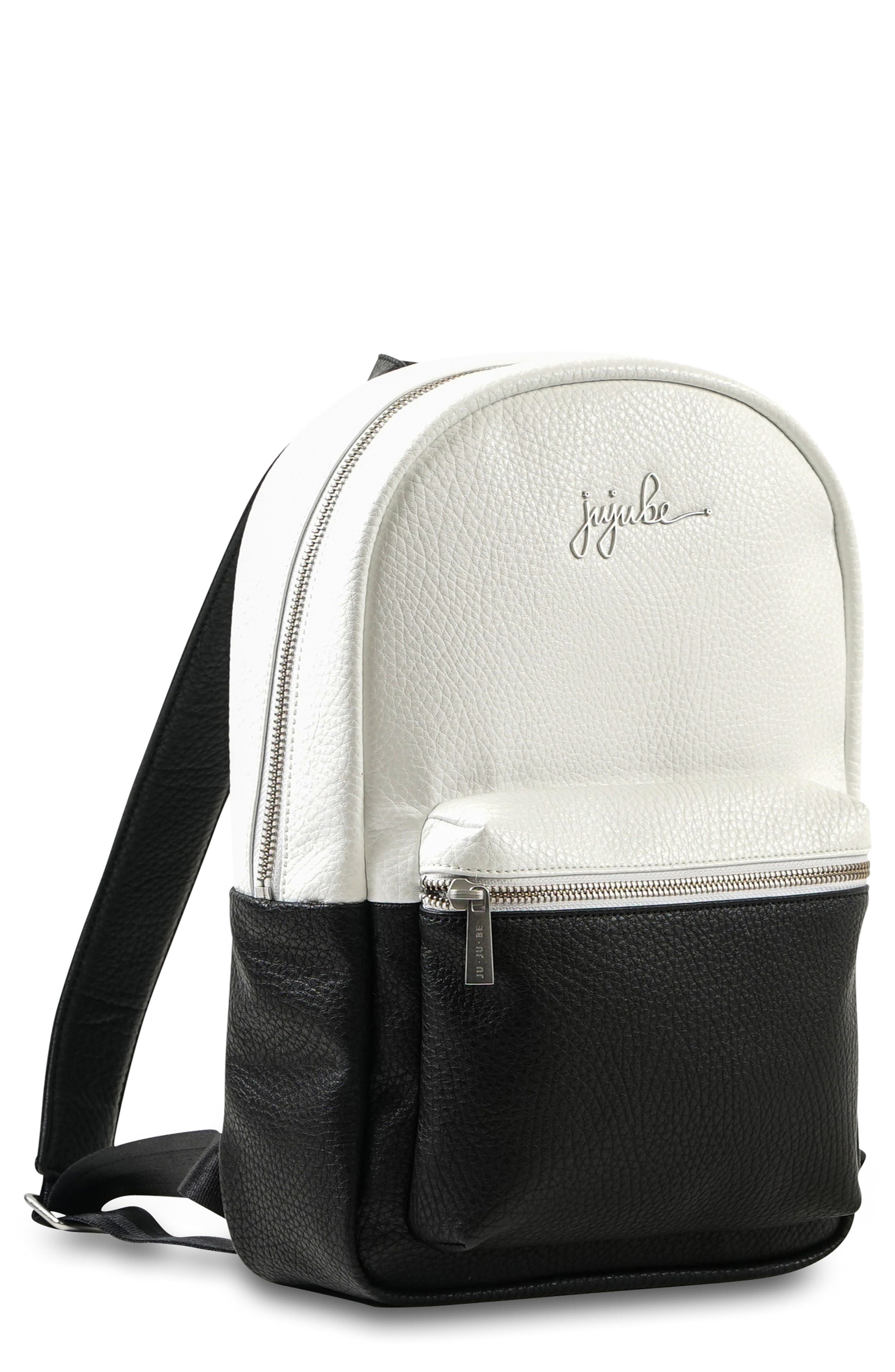 JU-JU-BE, Ever Collection Mini Faux Leather Diaper Backpack, Main thumbnail 1, color, BLACK/ WHITE