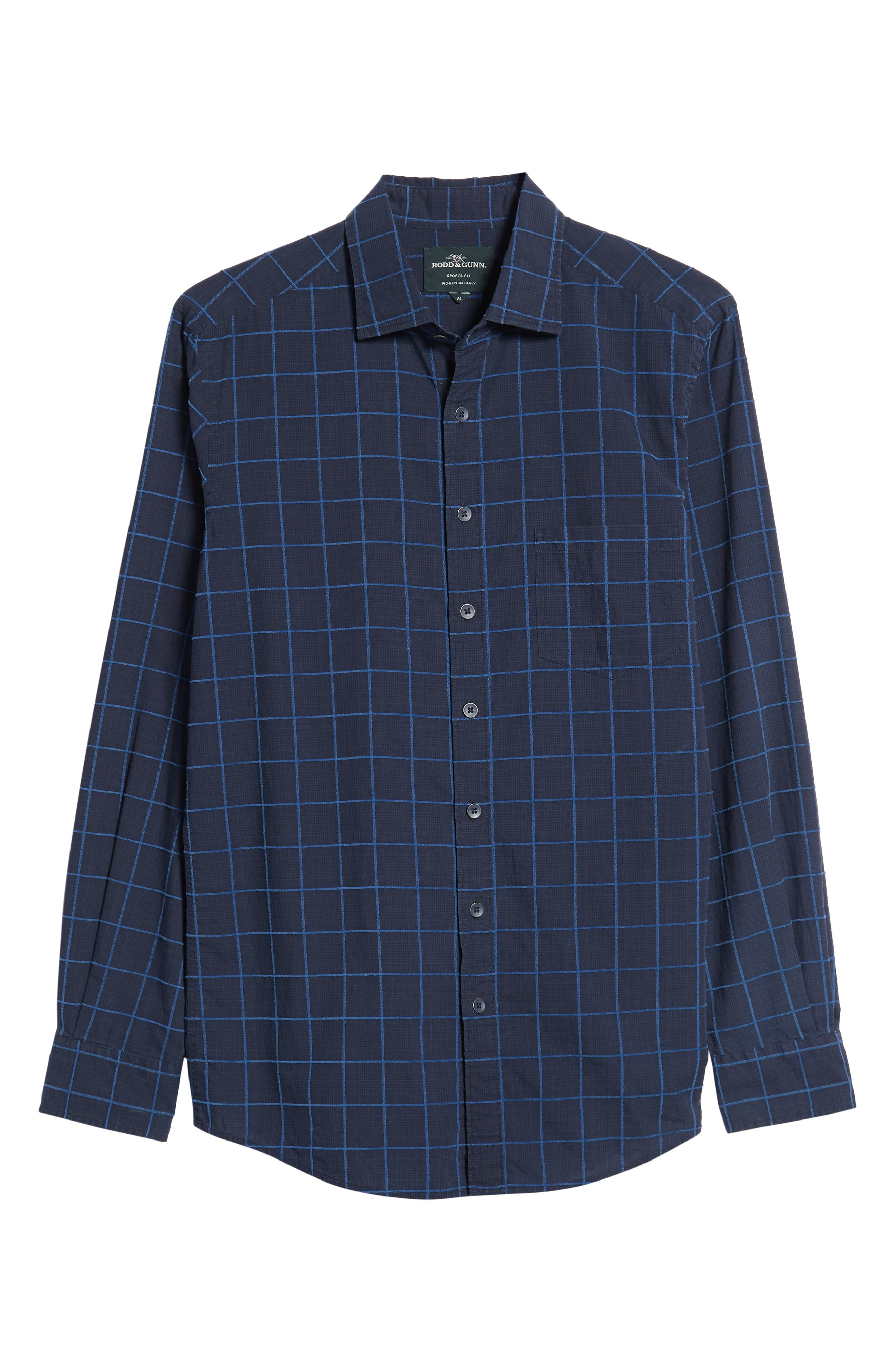 RODD & GUNN, Hindley Creek Regular Fit Sport Shirt, Alternate thumbnail 5, color, NAVY