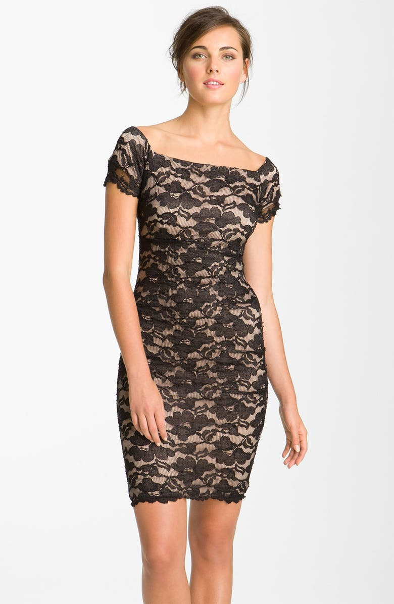 973957e970eca BETSY & ADAM Square Neck Lace Overlay Sheath Dress, Main, color, ...