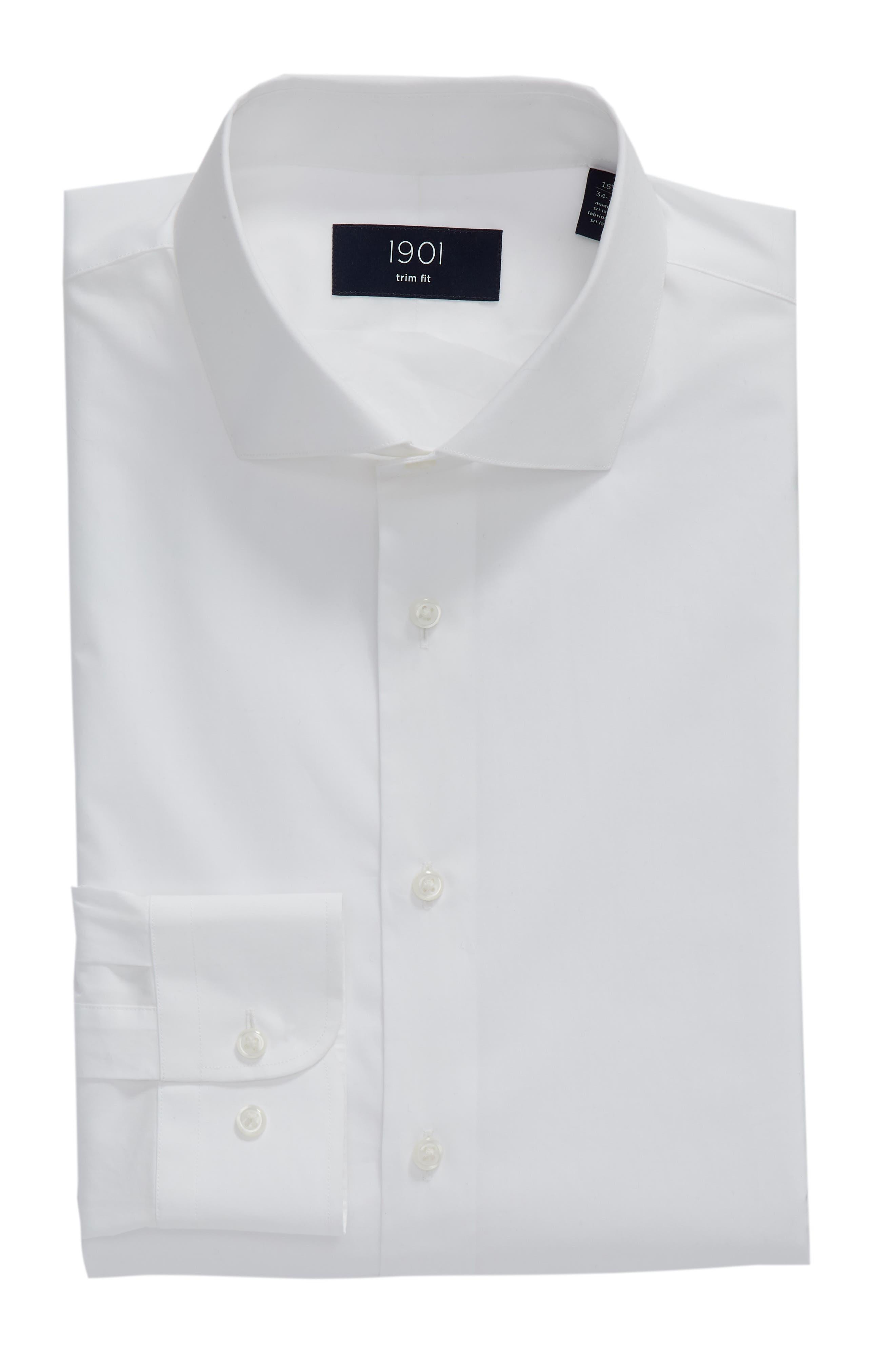 1901, Trim Fit Solid Dress Shirt, Alternate thumbnail 5, color, WHITE