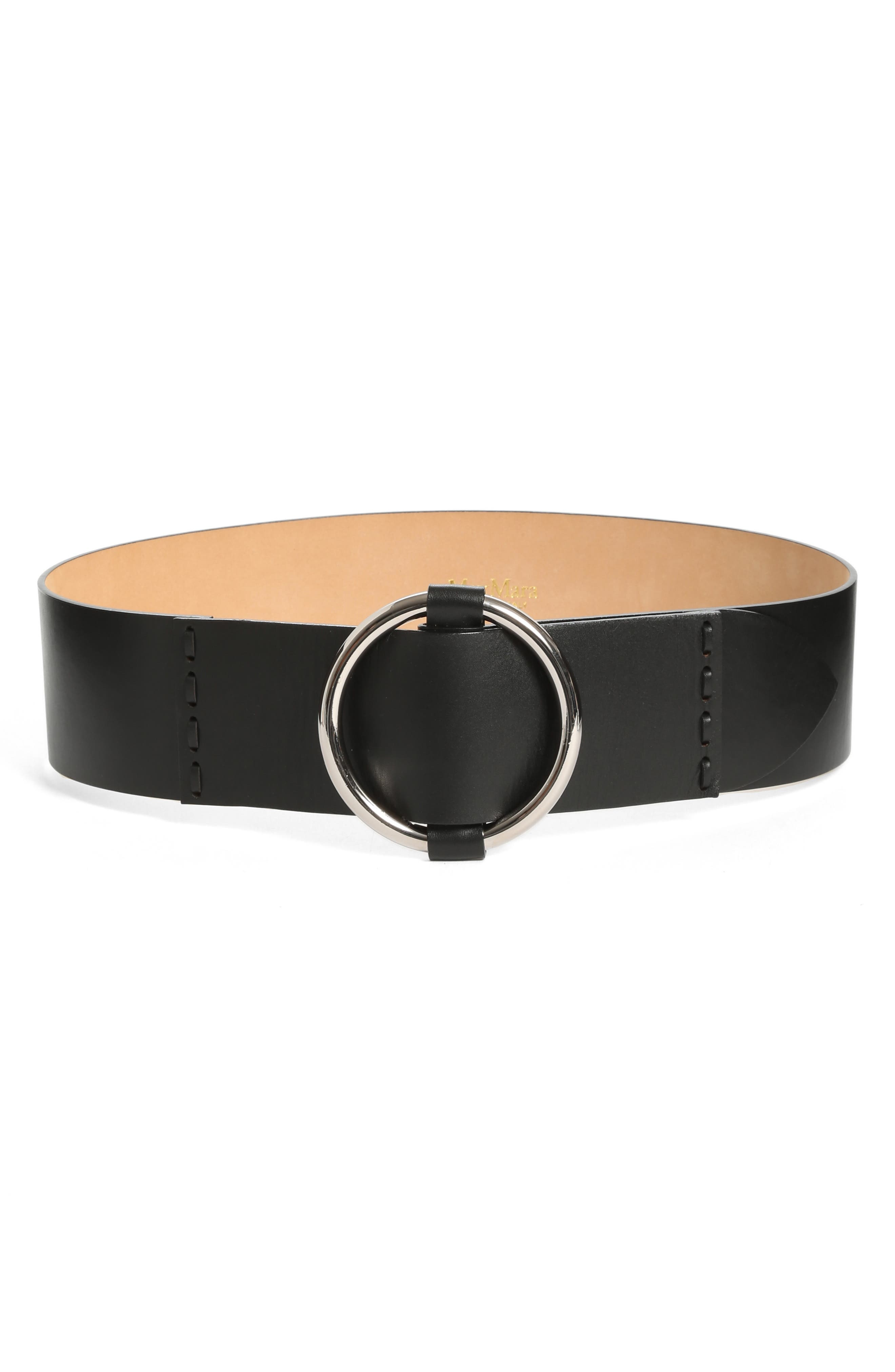 MAX MARA, Curt Circle Buckle Leather Belt, Main thumbnail 1, color, 001