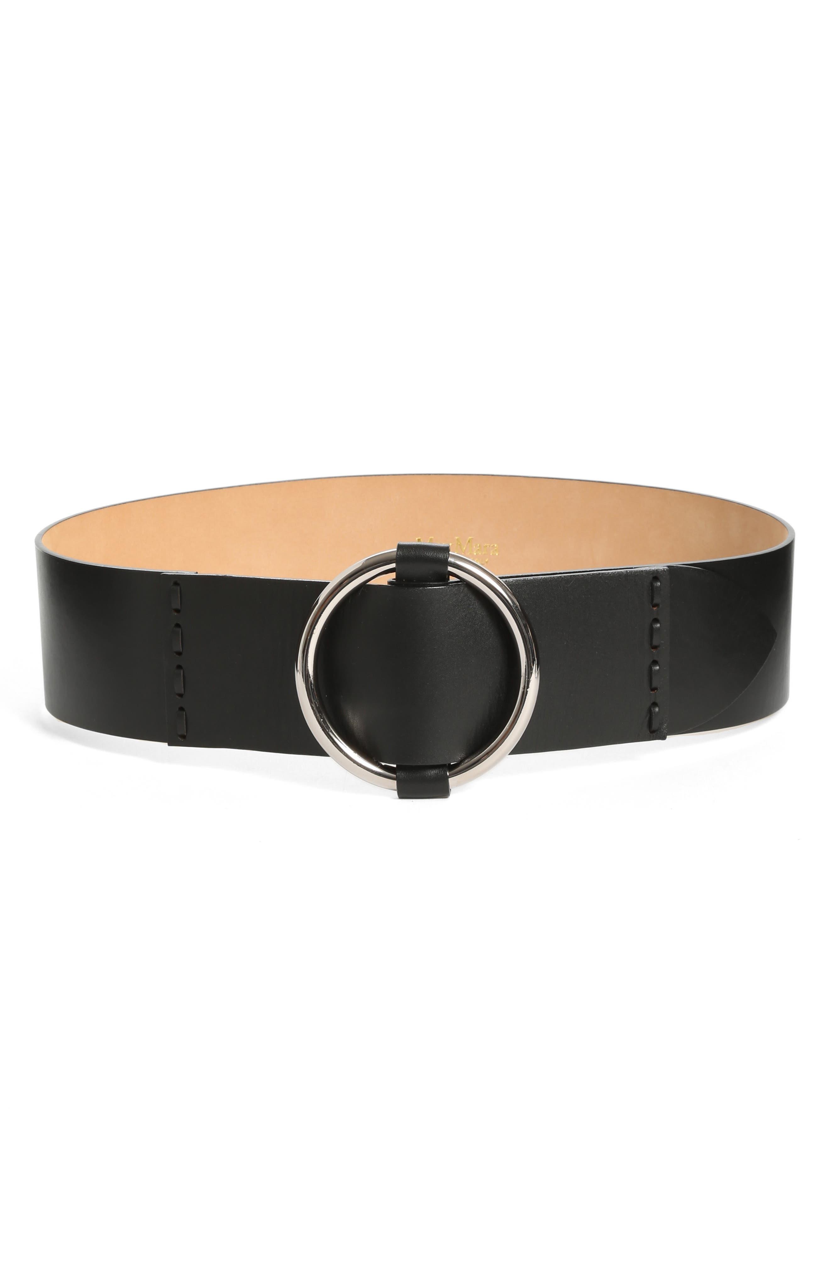 MAX MARA Curt Circle Buckle Leather Belt, Main, color, 001