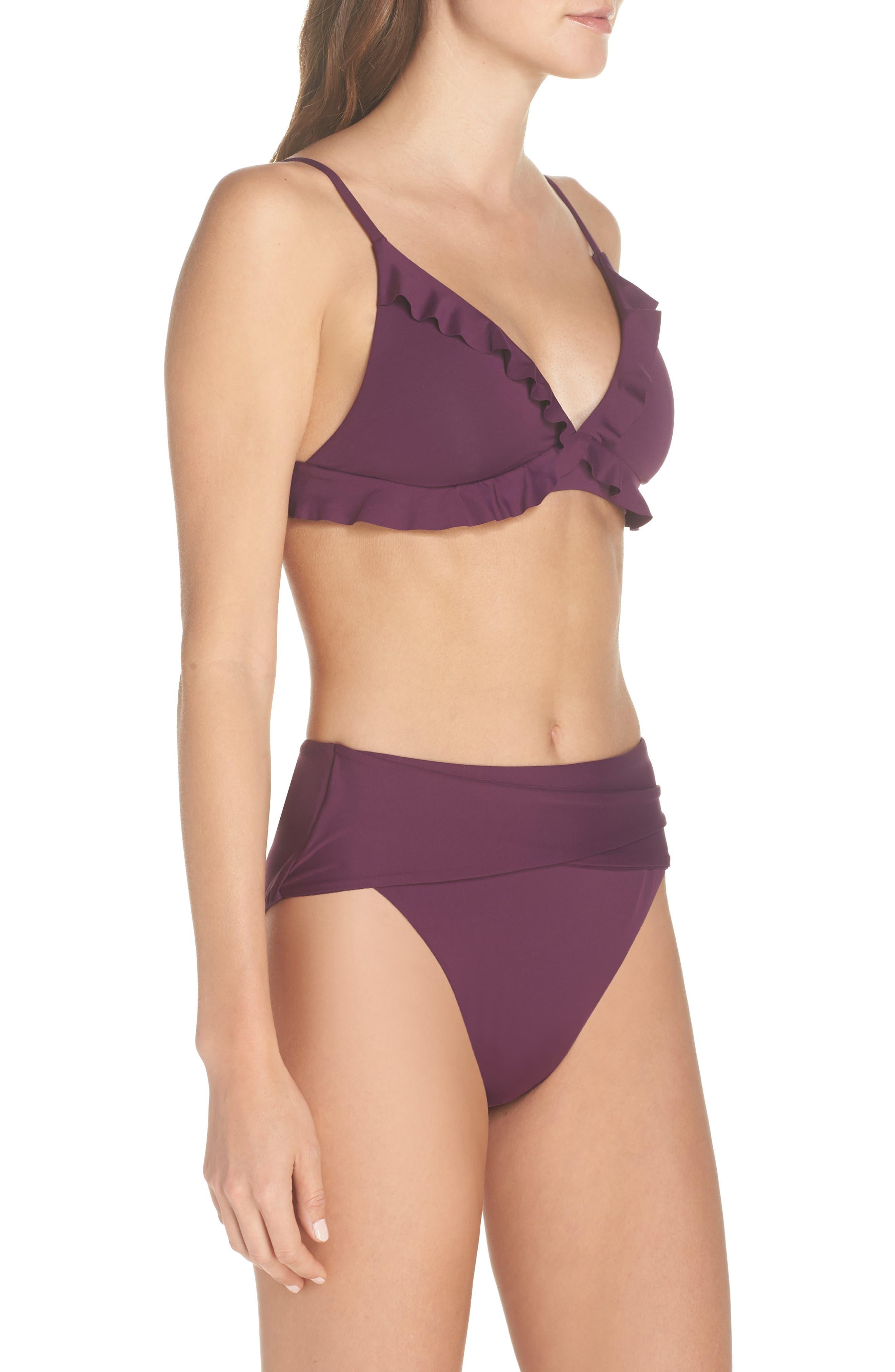 BECCA, Color Code Crossover High Waist Bikini Bottoms, Alternate thumbnail 10, color, MERLOT