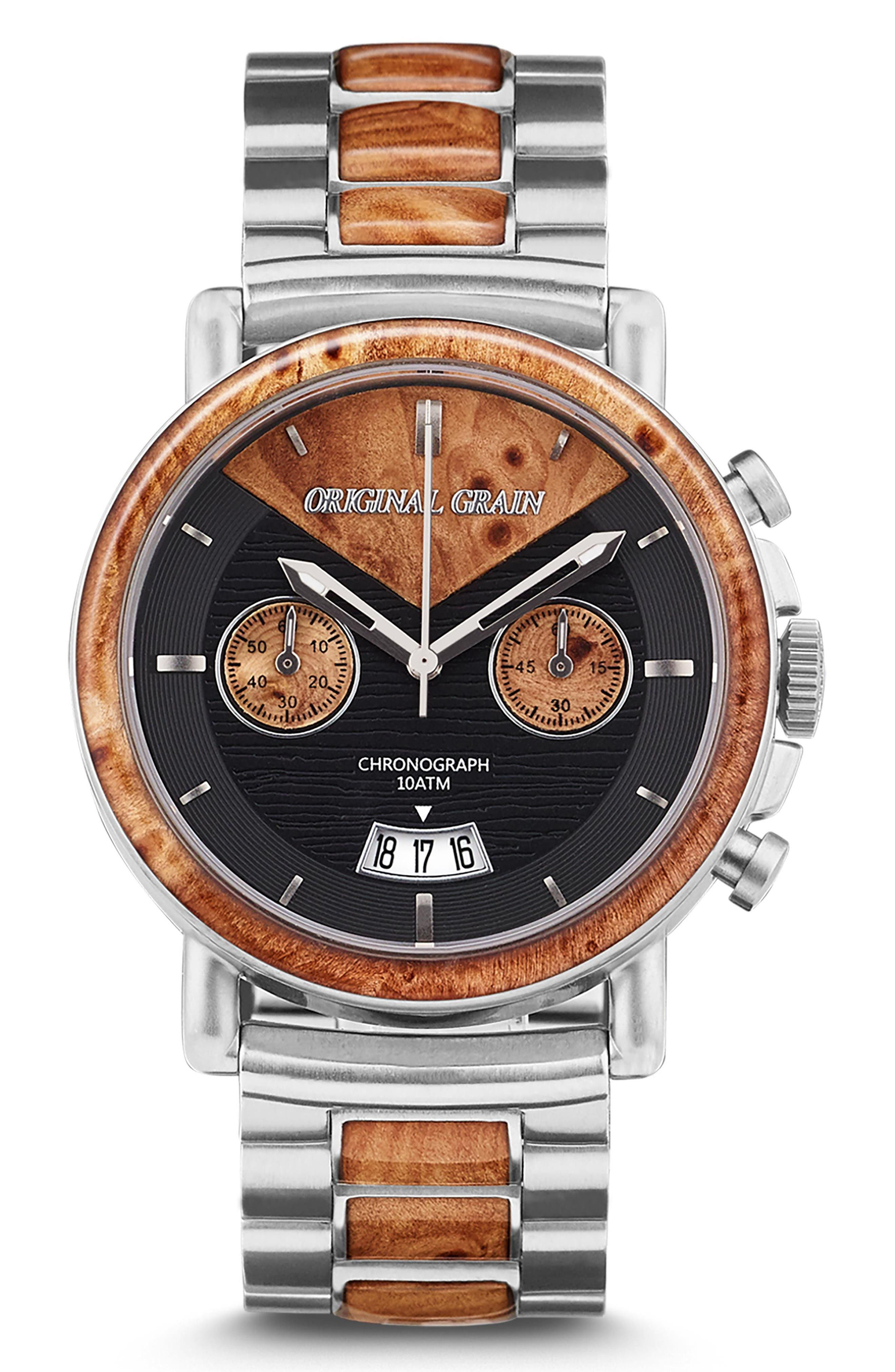 ORIGINAL GRAIN, Alterra Chronograph Bracelet Watch, 44mm, Main thumbnail 1, color, BURL WOOD/ BRUSHED SILVER