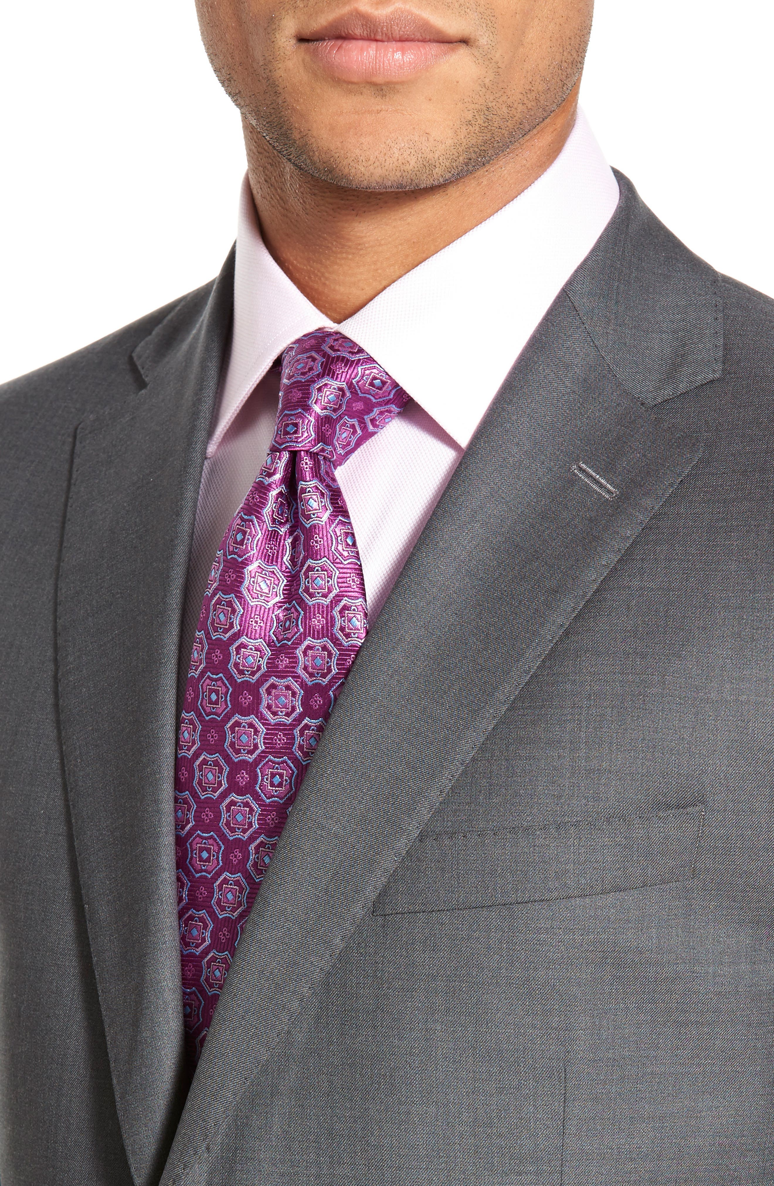 DAVID DONAHUE, Ryan Classic Fit Solid Wool Suit, Alternate thumbnail 4, color, GREY
