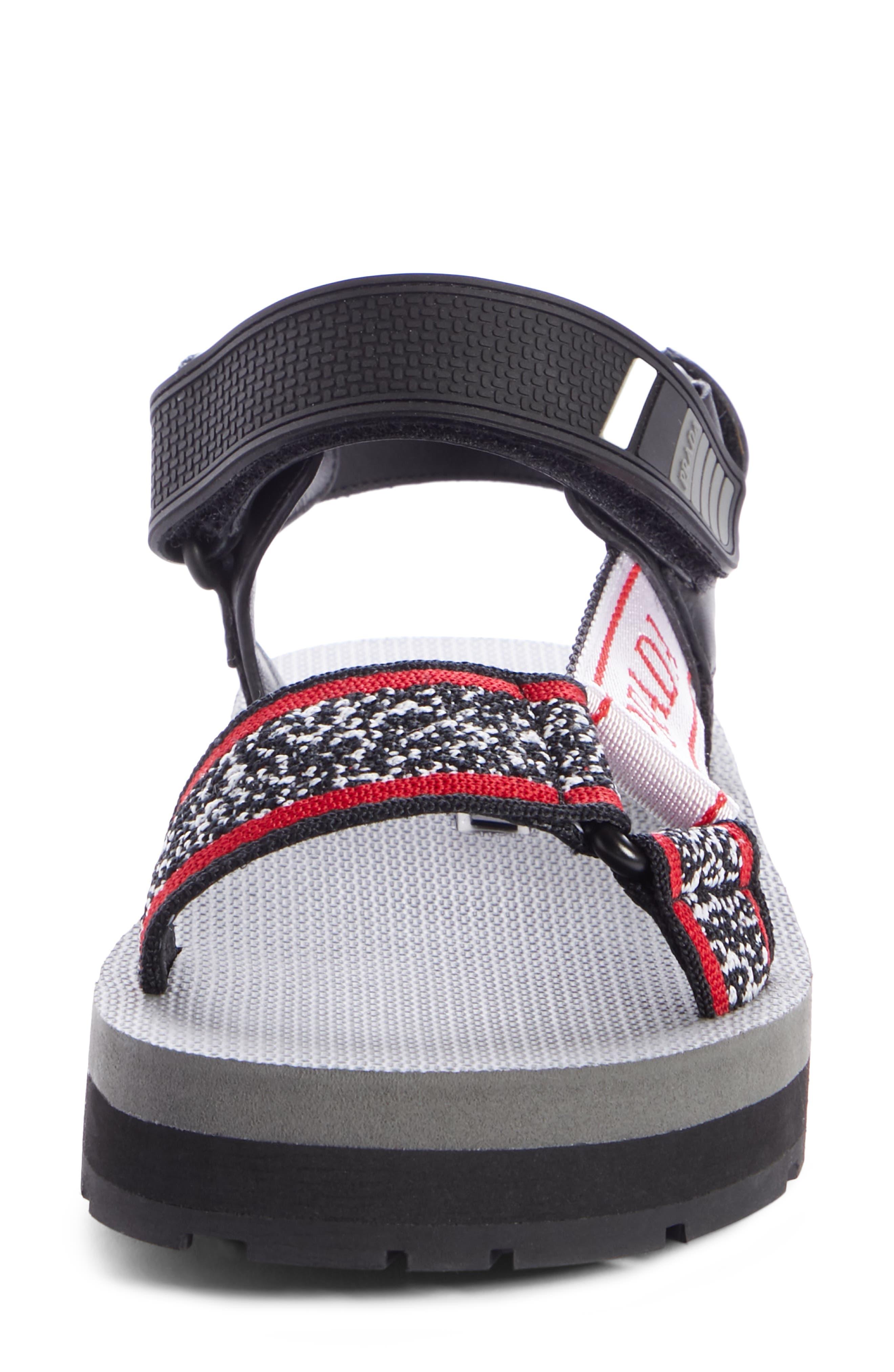 PRADA, Sport Sandal, Alternate thumbnail 4, color, BLACK/ RED