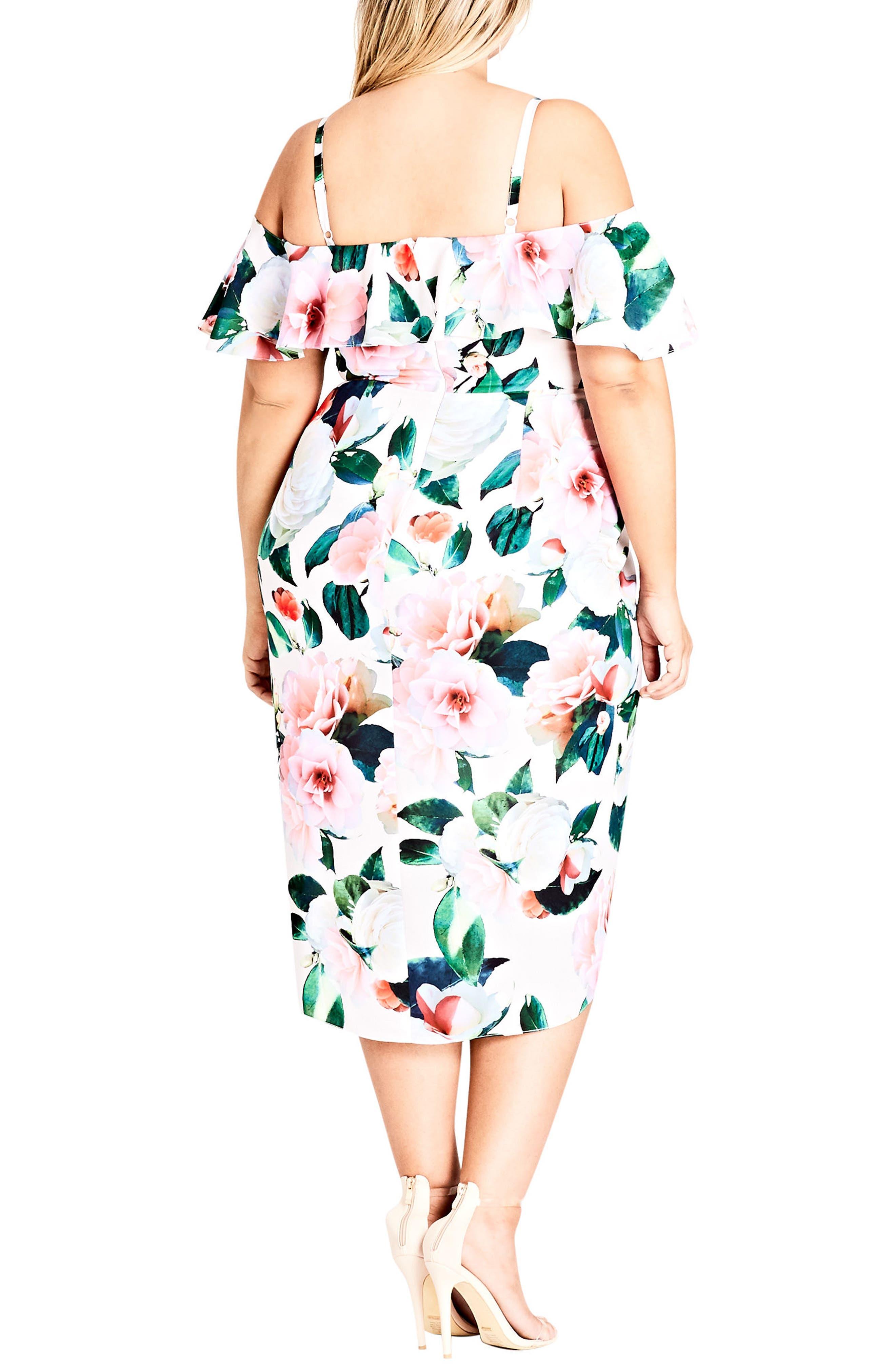CITY CHIC, Love Me Do Floral Cold Shoulder Dress, Alternate thumbnail 2, color, PINK GARDEN