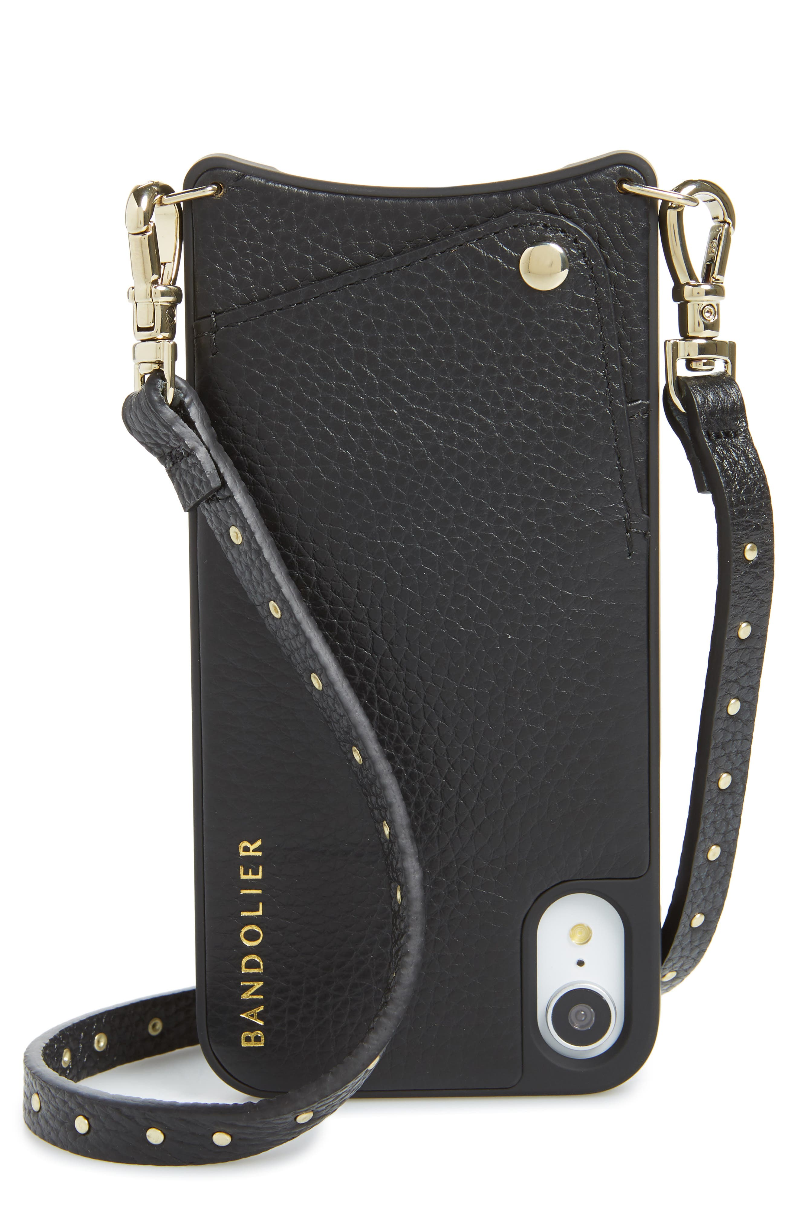 BANDOLIER Nicole Pebbled Leather X/Xs/Xs Max & XR Crossbody Case, Main, color, BLACK/ GOLD