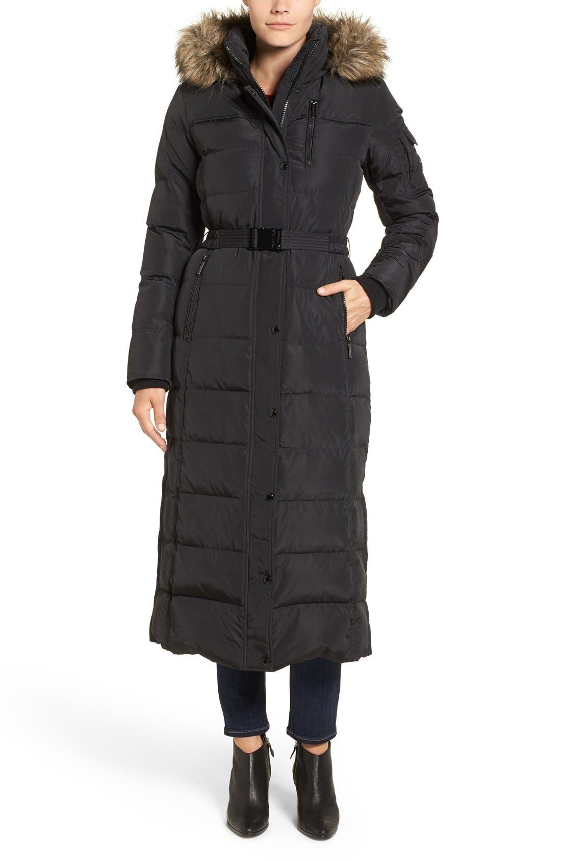 KORS MICHAEL KORS Faux Fur Trim Belted Down & Feather Fill Maxi Coat, Main, color, 001