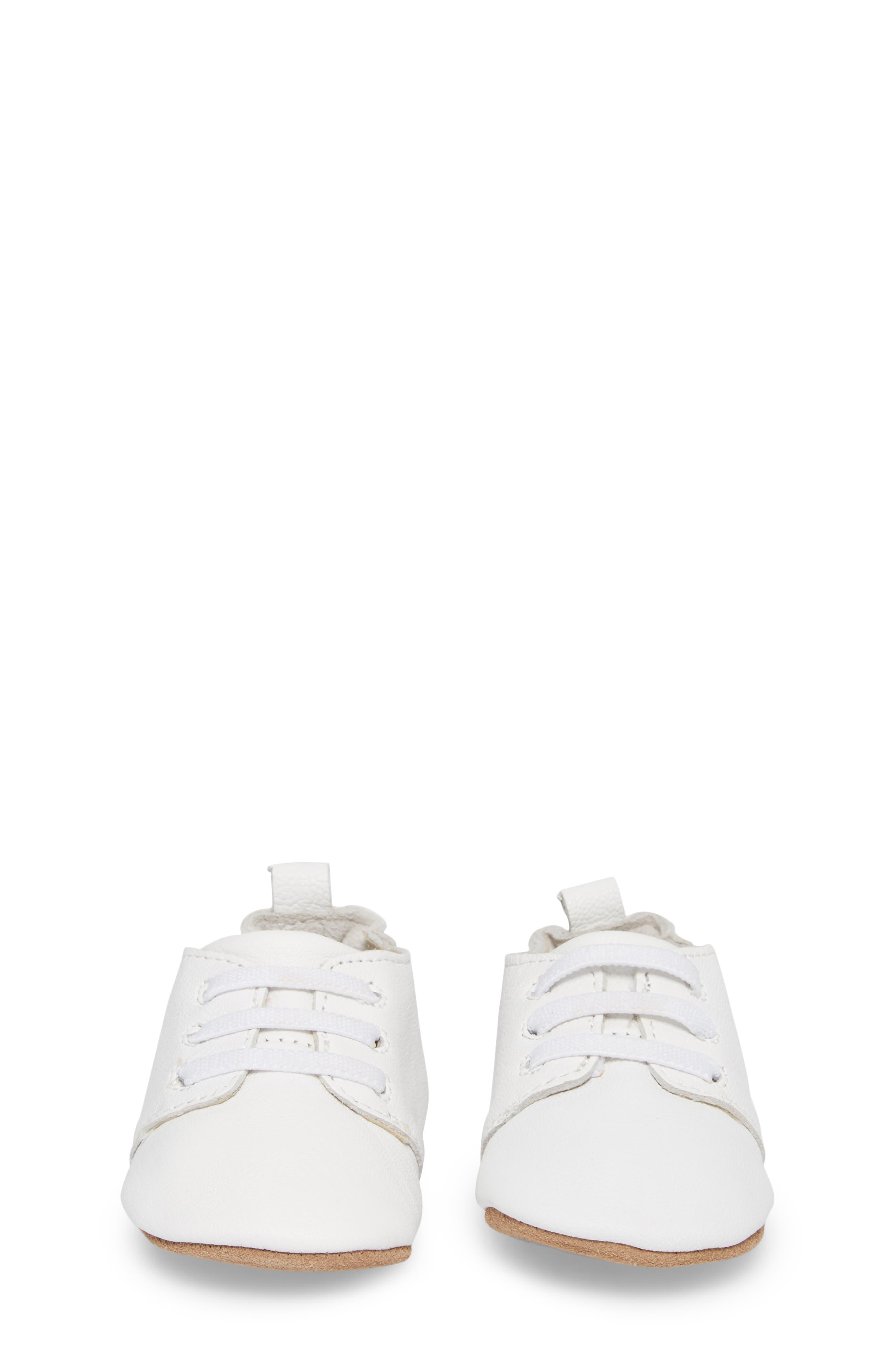 ROBEEZ<SUP>®</SUP>, Owen Oxford Crib Shoe, Alternate thumbnail 4, color, WHITE