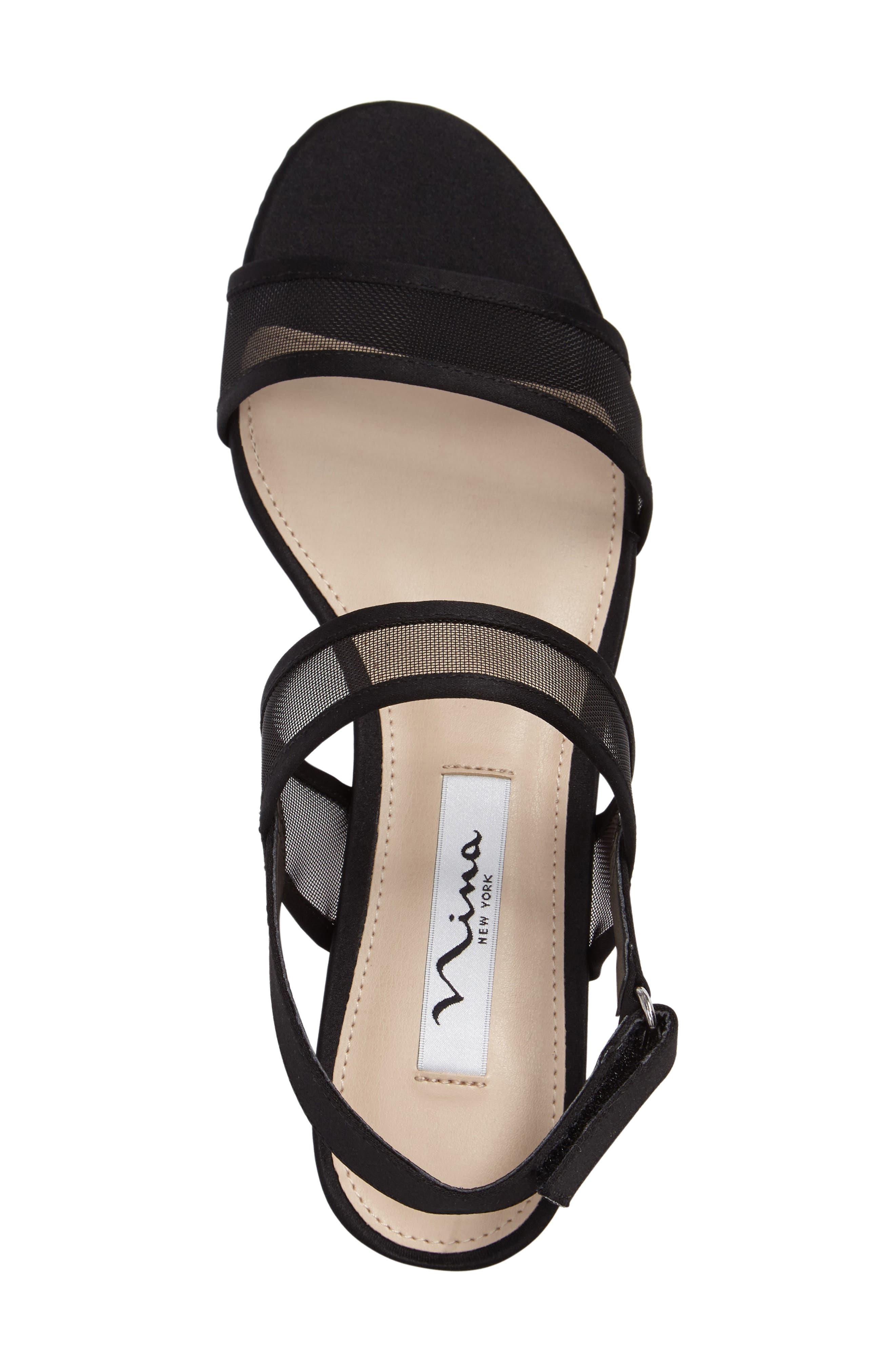 NINA, Ganice Mesh Strap Sandal, Alternate thumbnail 3, color, BLACK SATIN