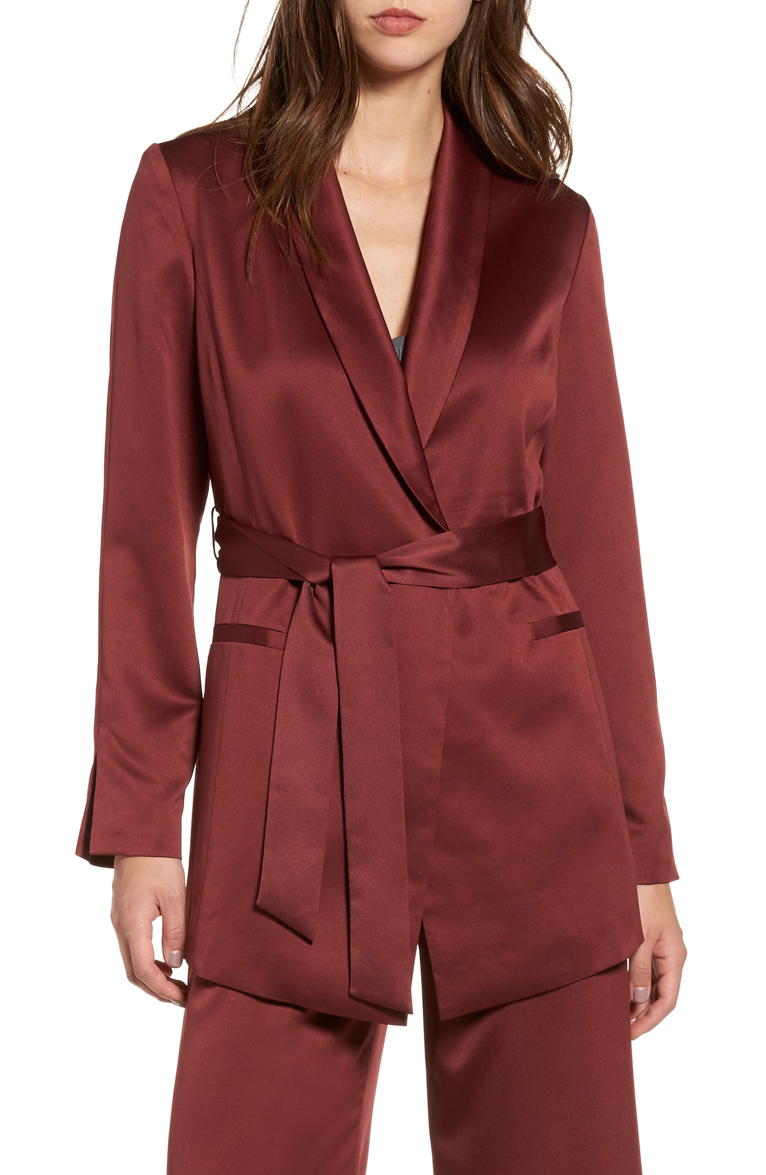 LEITH, Belted Satin Jacket, Main thumbnail 1, color, 601