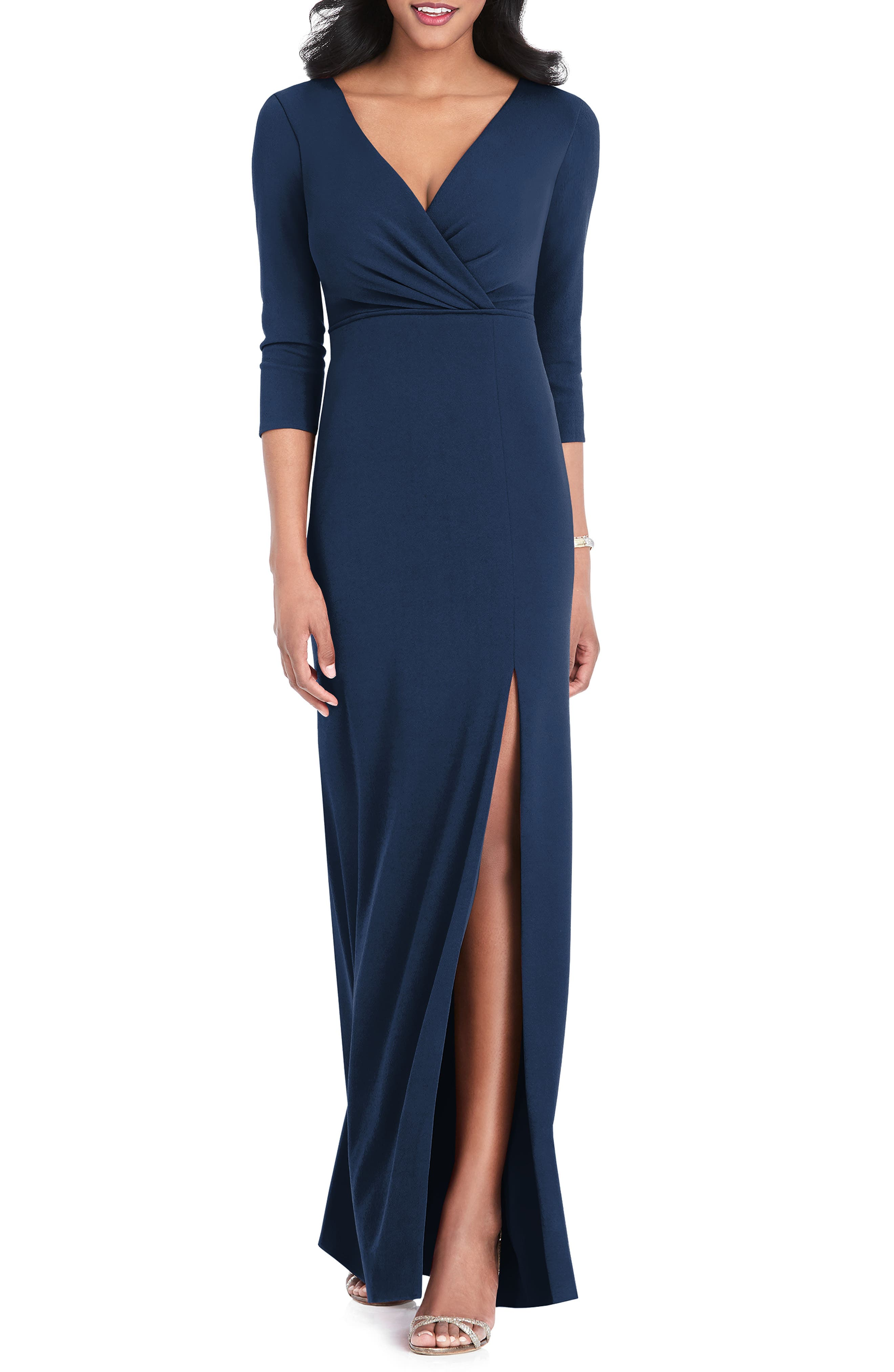 After Six Surplice Stretch Crepe Gown, Blue