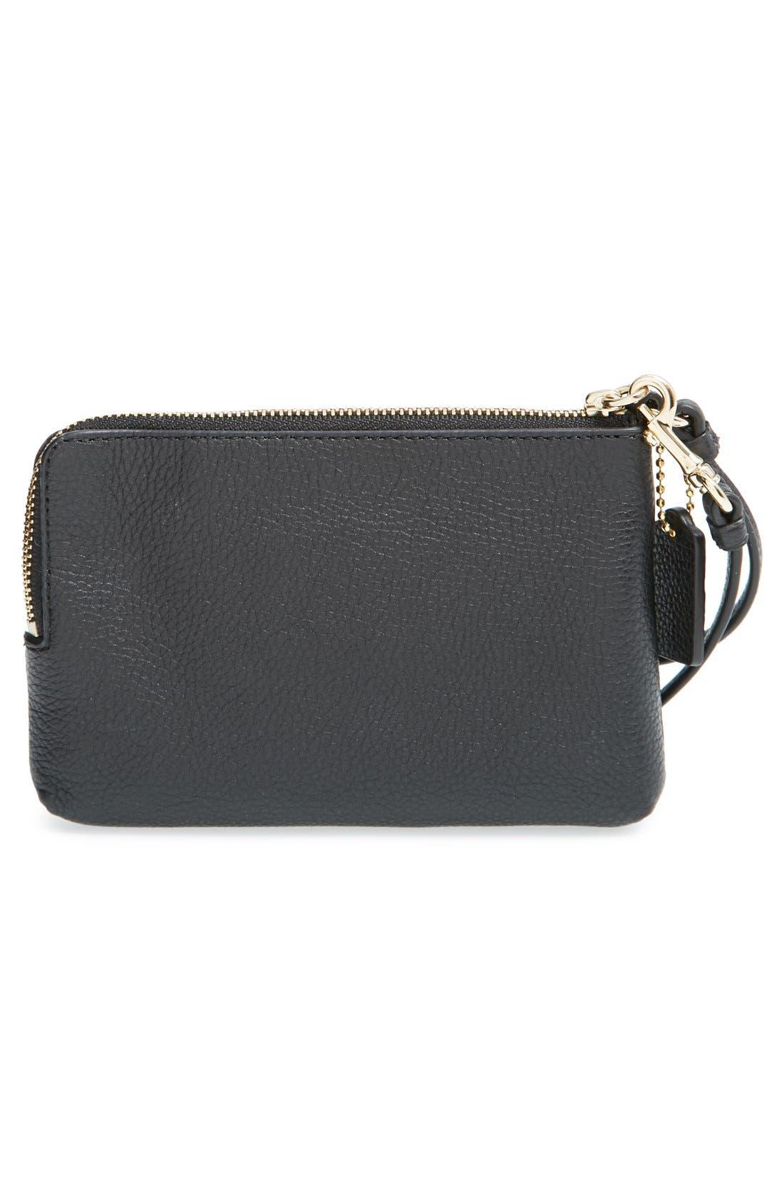 COACH, 'Madison' Double Zip Leather Wallet, Alternate thumbnail 3, color, 001