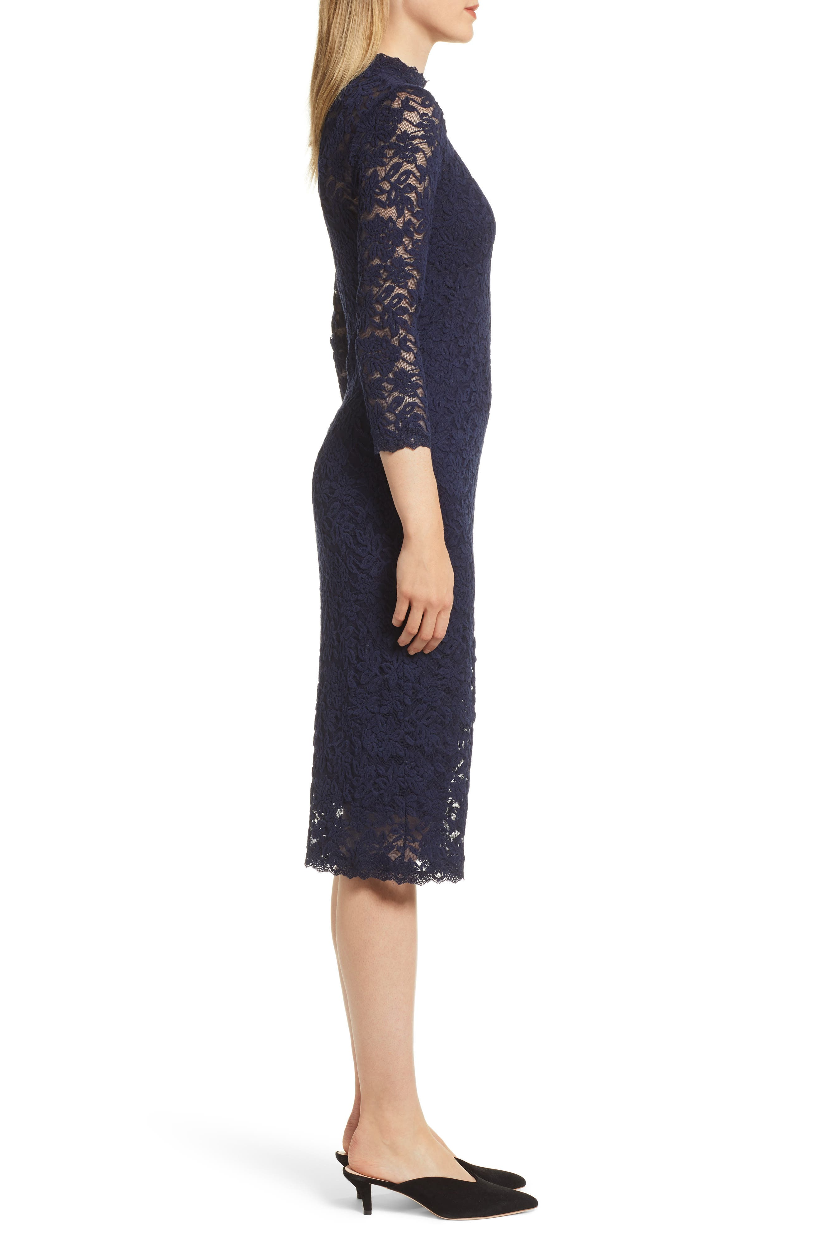 ROSEMUNDE, Delicia Lace Body-Con Dress, Alternate thumbnail 4, color, MARITIME BLUE