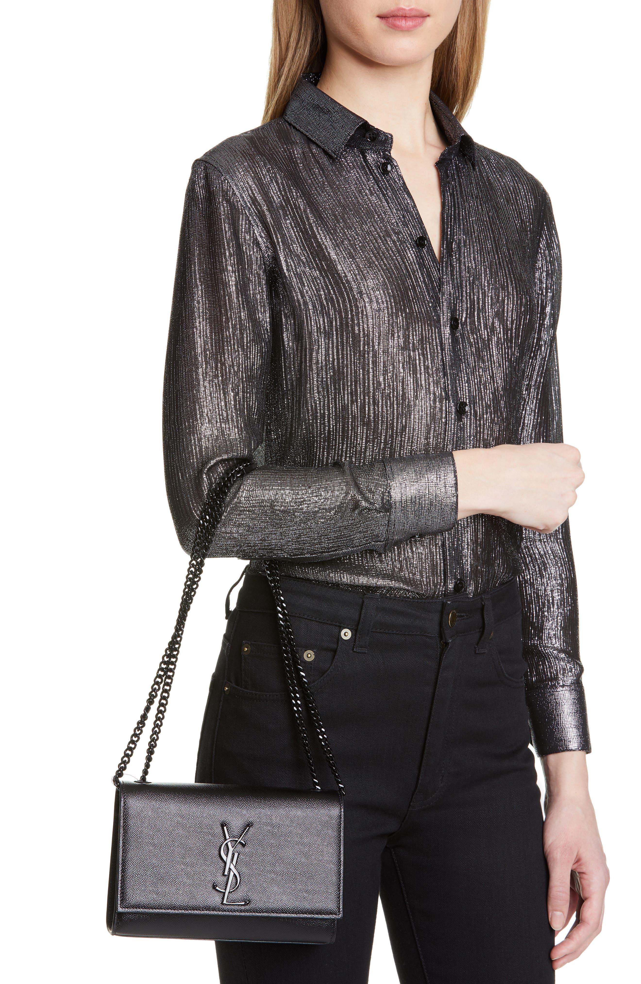 SAINT LAURENT, Small Kate Leather Shoulder Bag, Alternate thumbnail 3, color, BLACK