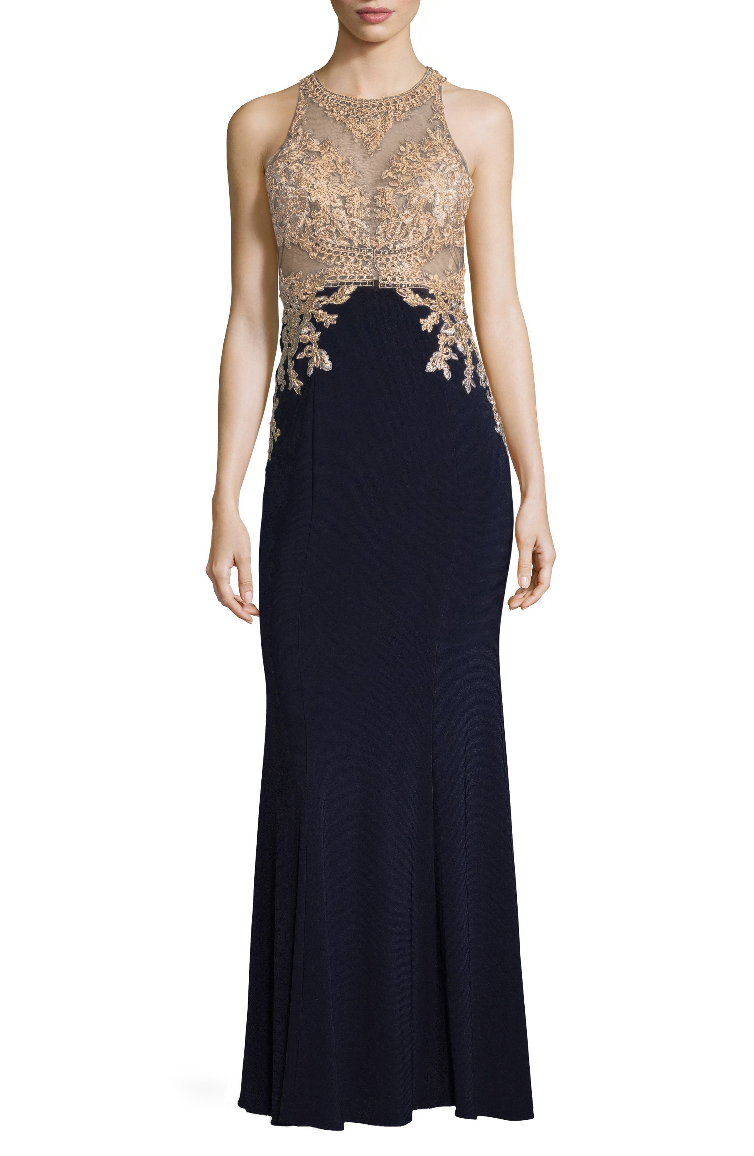 Xscape High Neck Embroidered Bodice Evening Dress, Blue