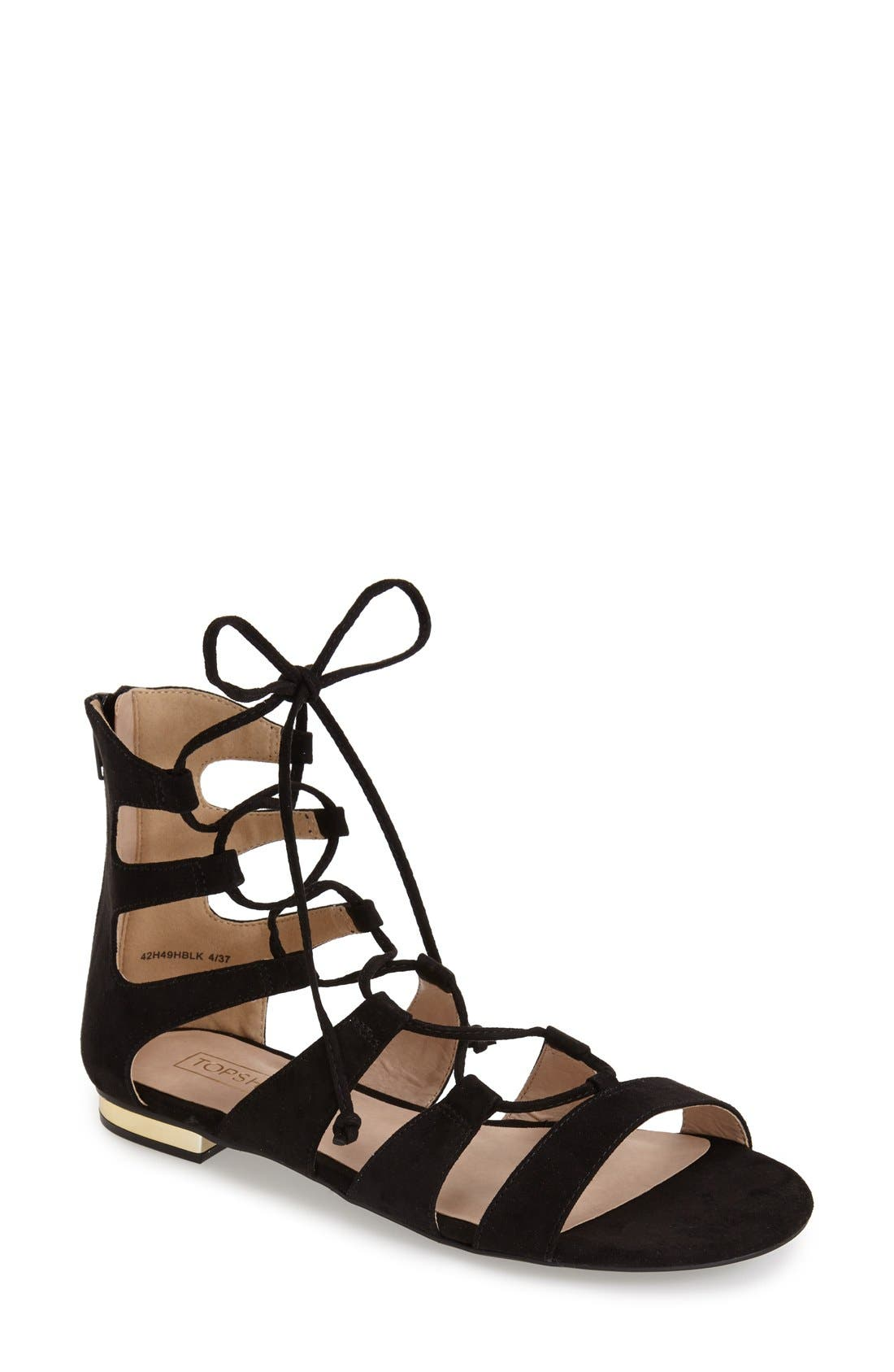 TOPSHOP, Lace-Up Gladiator Sandal, Main thumbnail 1, color, 001