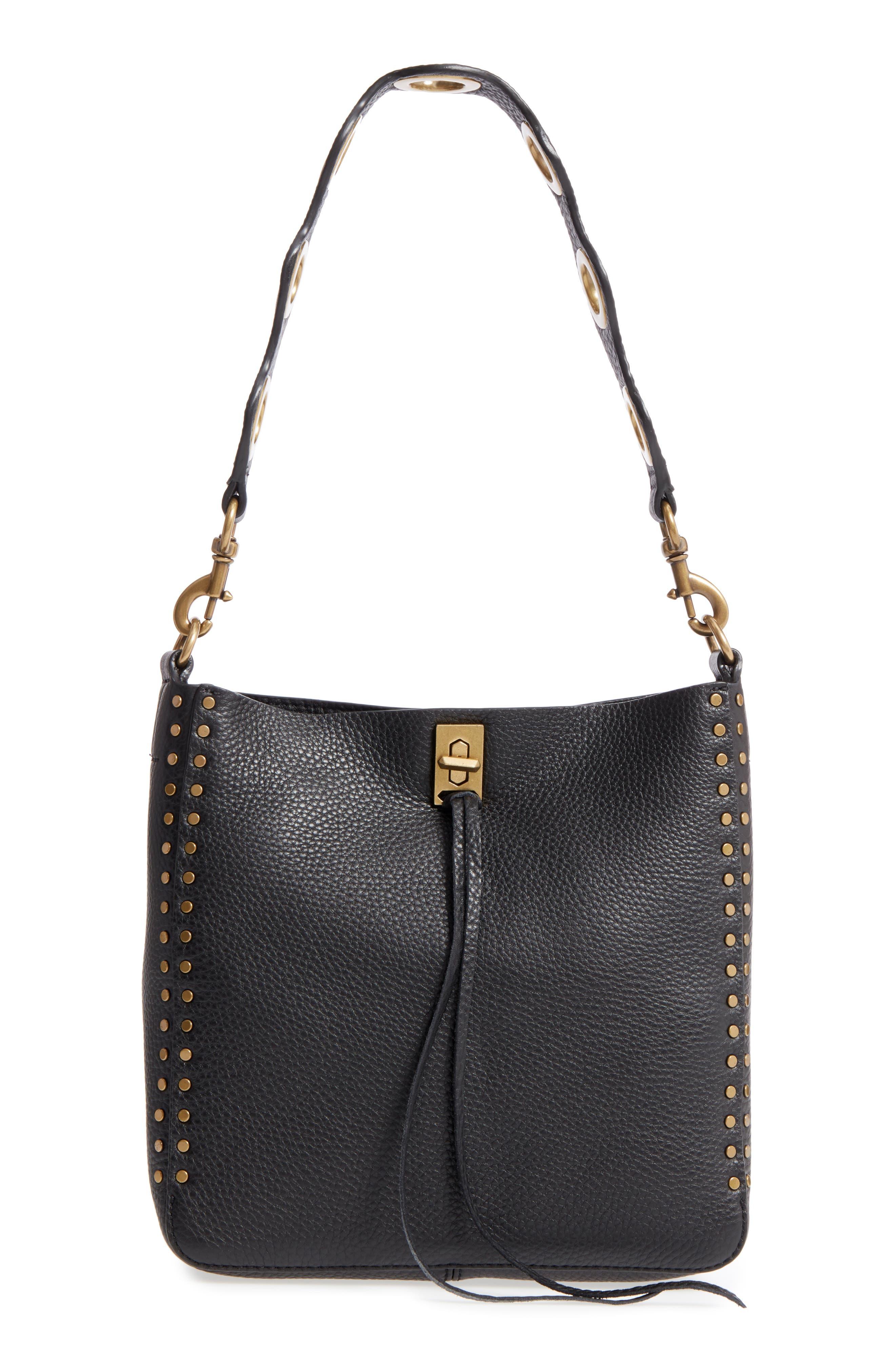 REBECCA MINKOFF, Small Darren Deerskin Leather Feed Bag, Main thumbnail 1, color, BLACK