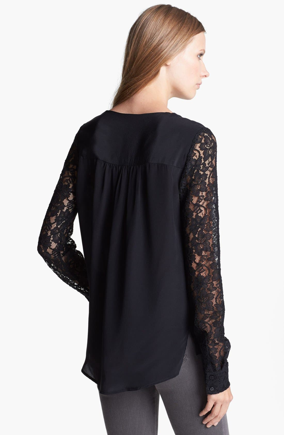 DIANE VON FURSTENBERG, 'Louisa' Lace Sleeve Silk Top, Alternate thumbnail 2, color, 001