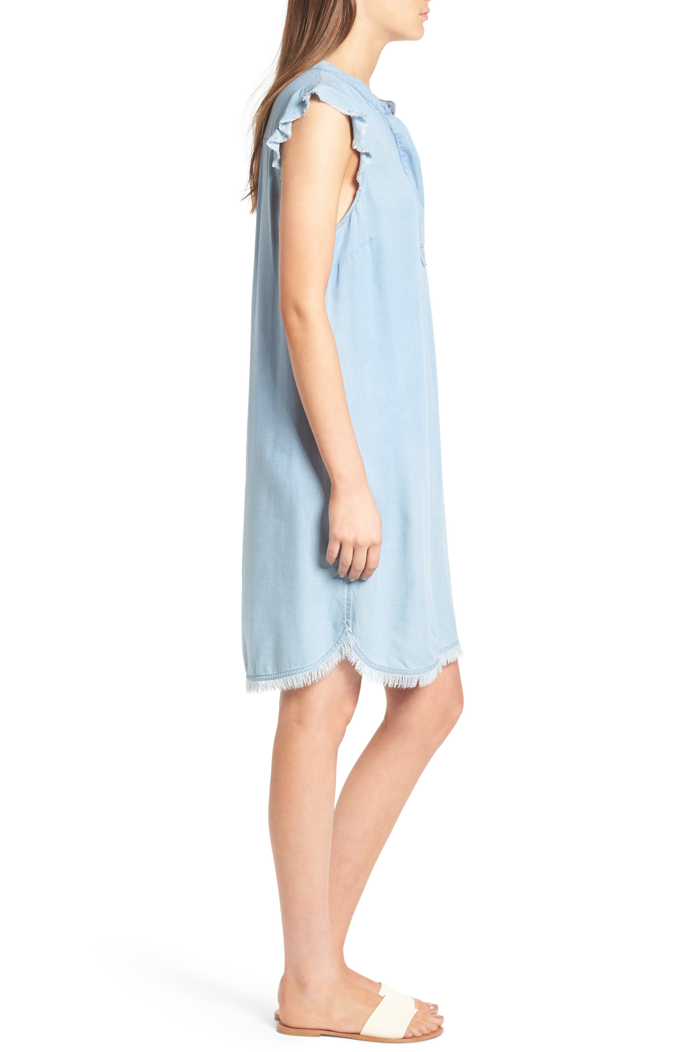 SPLENDID, Chambray Shift Dress, Alternate thumbnail 3, color, 400